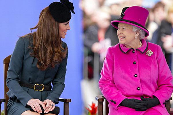 Queen Elizabeth II and Princess Catherine