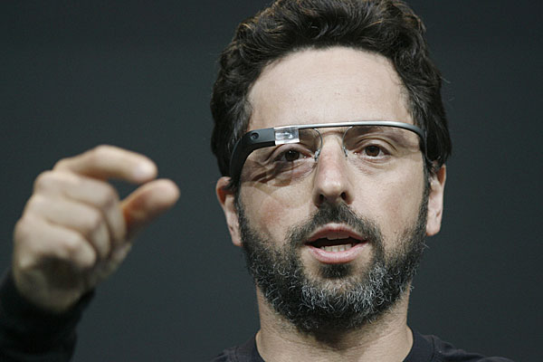 Google co-founder Sergey Brin wearing Google Glass.