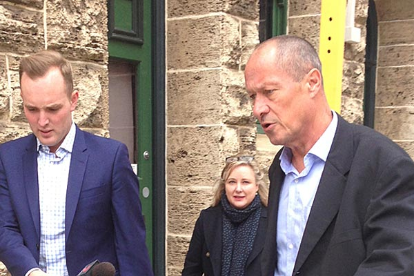 Hamish Bohannan leaves the WA District Court after his wife, Julie, was sentenced to 18 months in jail. (AAP)