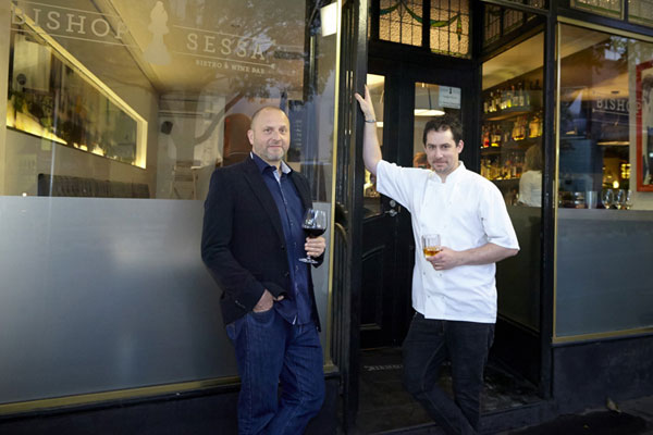 Restaurant owner Erez Gordon (left) outside his restaurant with his head chef (Supplied)