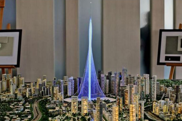 A model of the Tower Project at Dubai Creek Harbour Development designed by Spanish-Swiss architect Santiago Calatrava Valls. (AP)