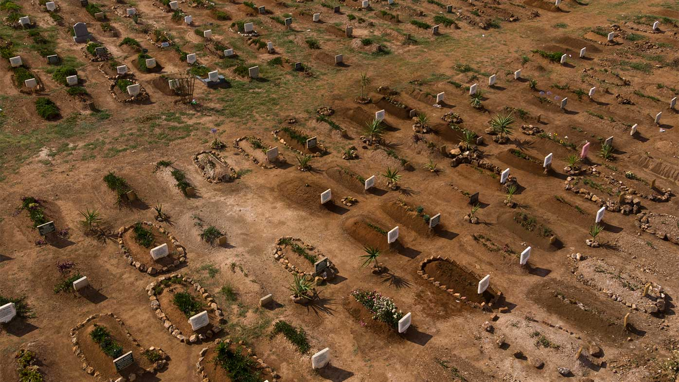 New graves at a cemetery in Johannesburg, South Africa.