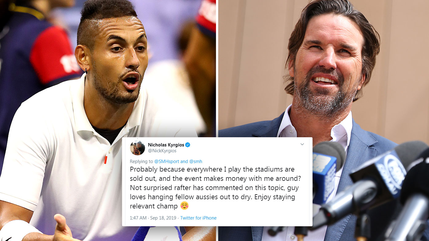 Kyrgios and Rafter's feud has been reignited