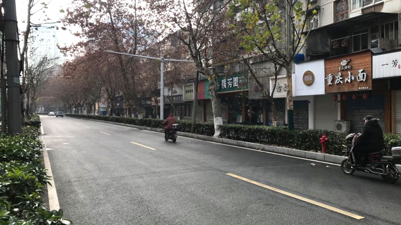 The usually bustling city of Wuhan is deserted.