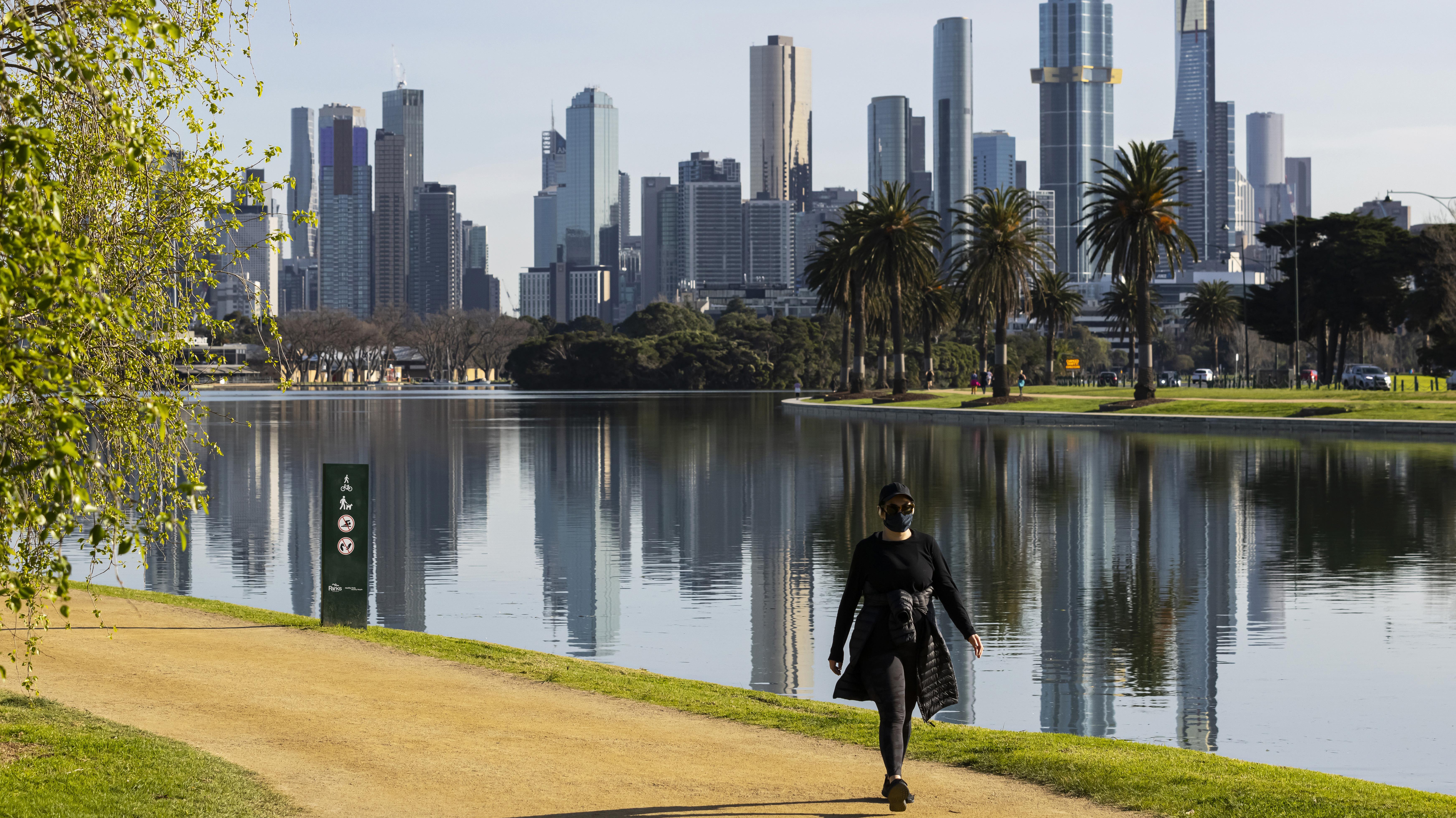 People exercising at Albert Park Lake  in Melbourne