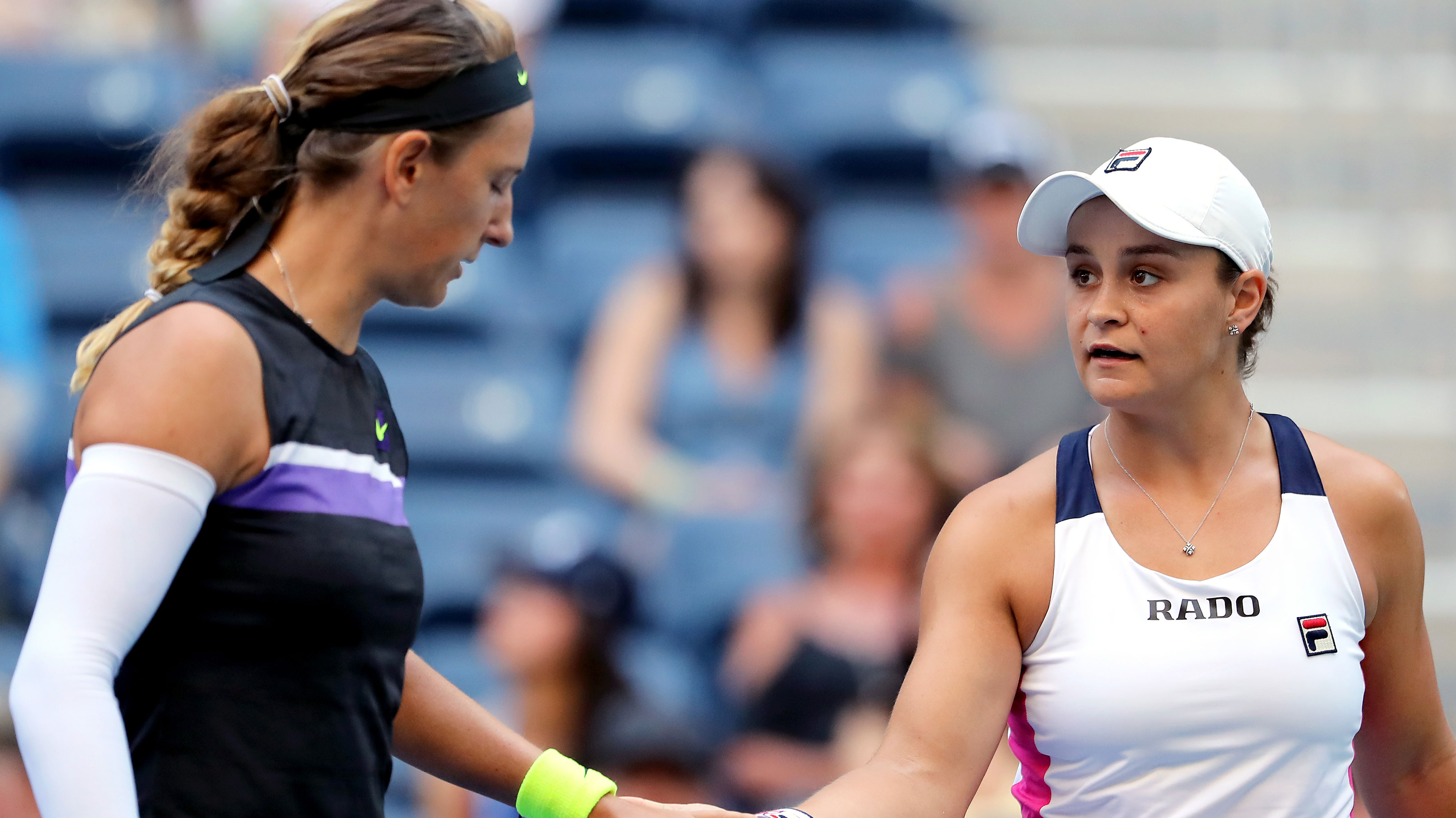 Victoria Azarenka and Ash Barty romped to victory in their US Open semi final.