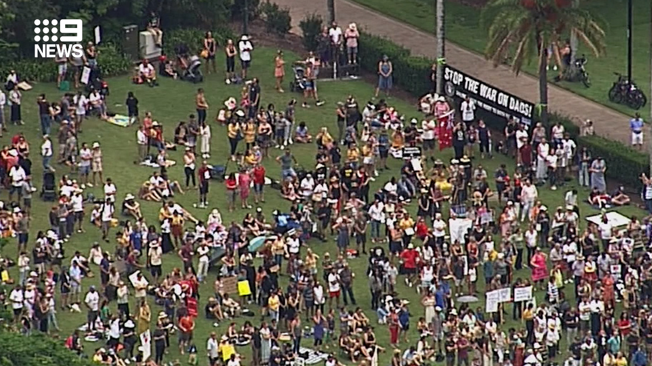 Hundreds of people also gathered in Brisbane today.