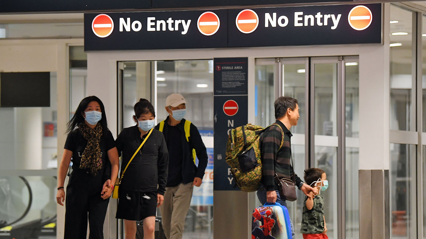 Australian evacuees who were quarantined on Christmas Island over concerns about the COVID-19 coronavirus arrive at Sydney Airport in Sydney, Monday, February 17, 2020. The bulk of the people quarantined on Christmas Island have been flown to the mainland on two aircraft while about 35 people will return the day after tomorrow.