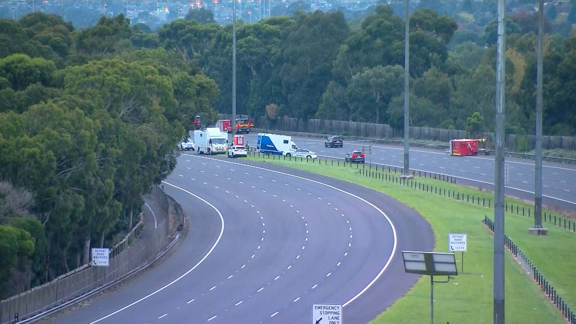 The scene of a horror crash on the Eastern Freeway in Melbourne where four police officers were killed on Wednesday night.
