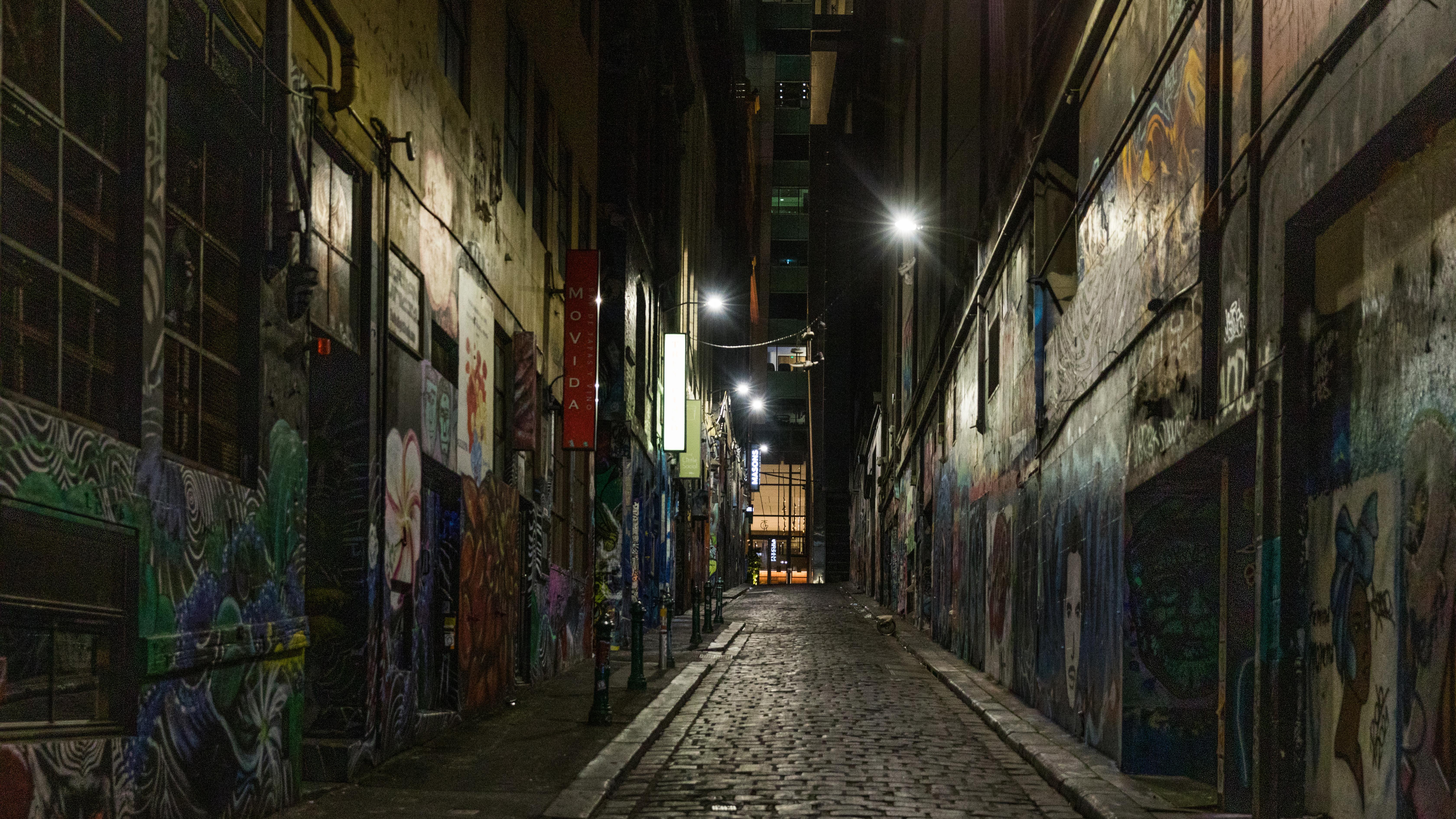 An empty Hosier Lane in Melbourne.