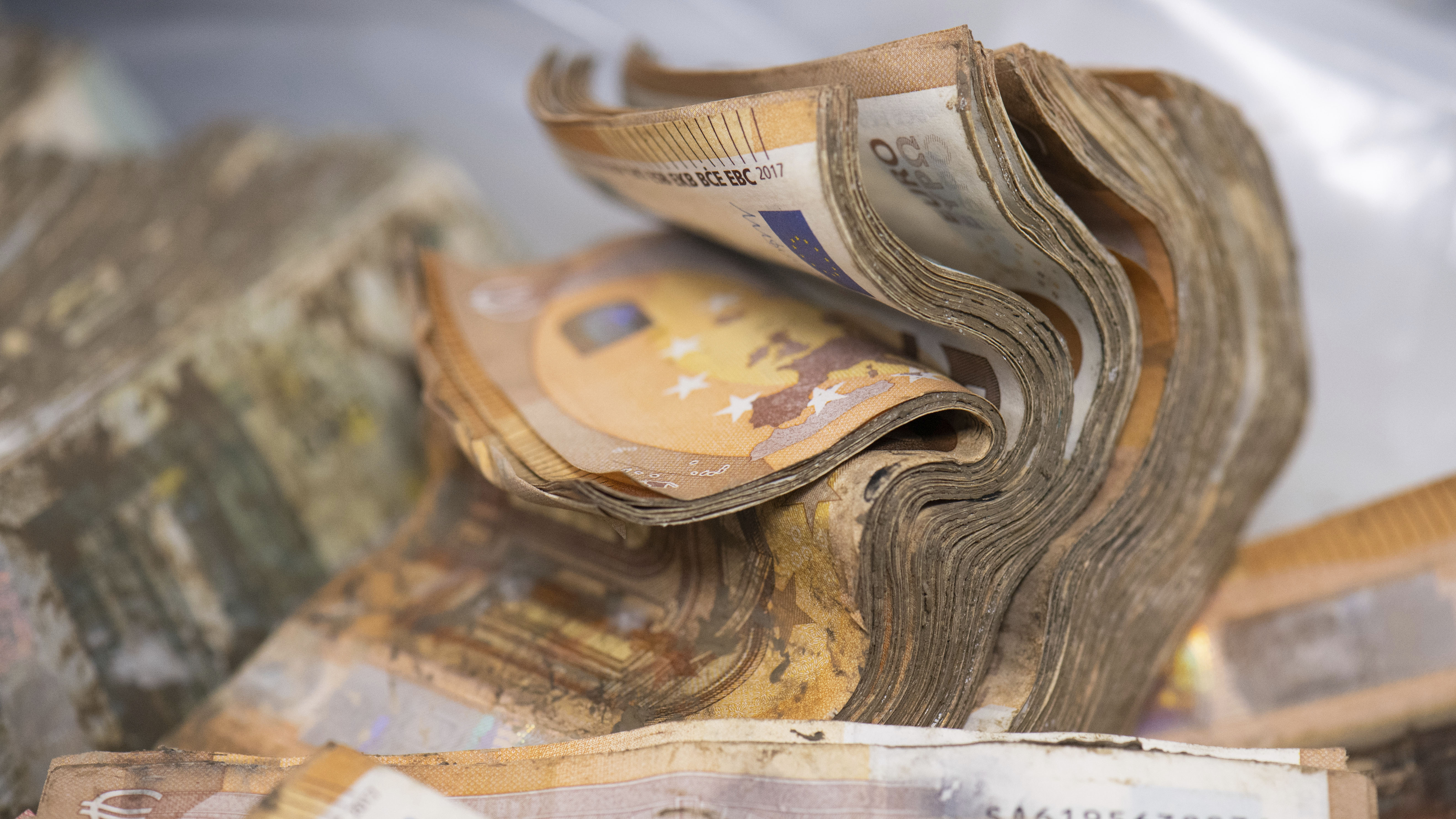 Soaked and mouldy euro banknotes are waiting to be dried at the Bundesbank in Mainz, Germany.