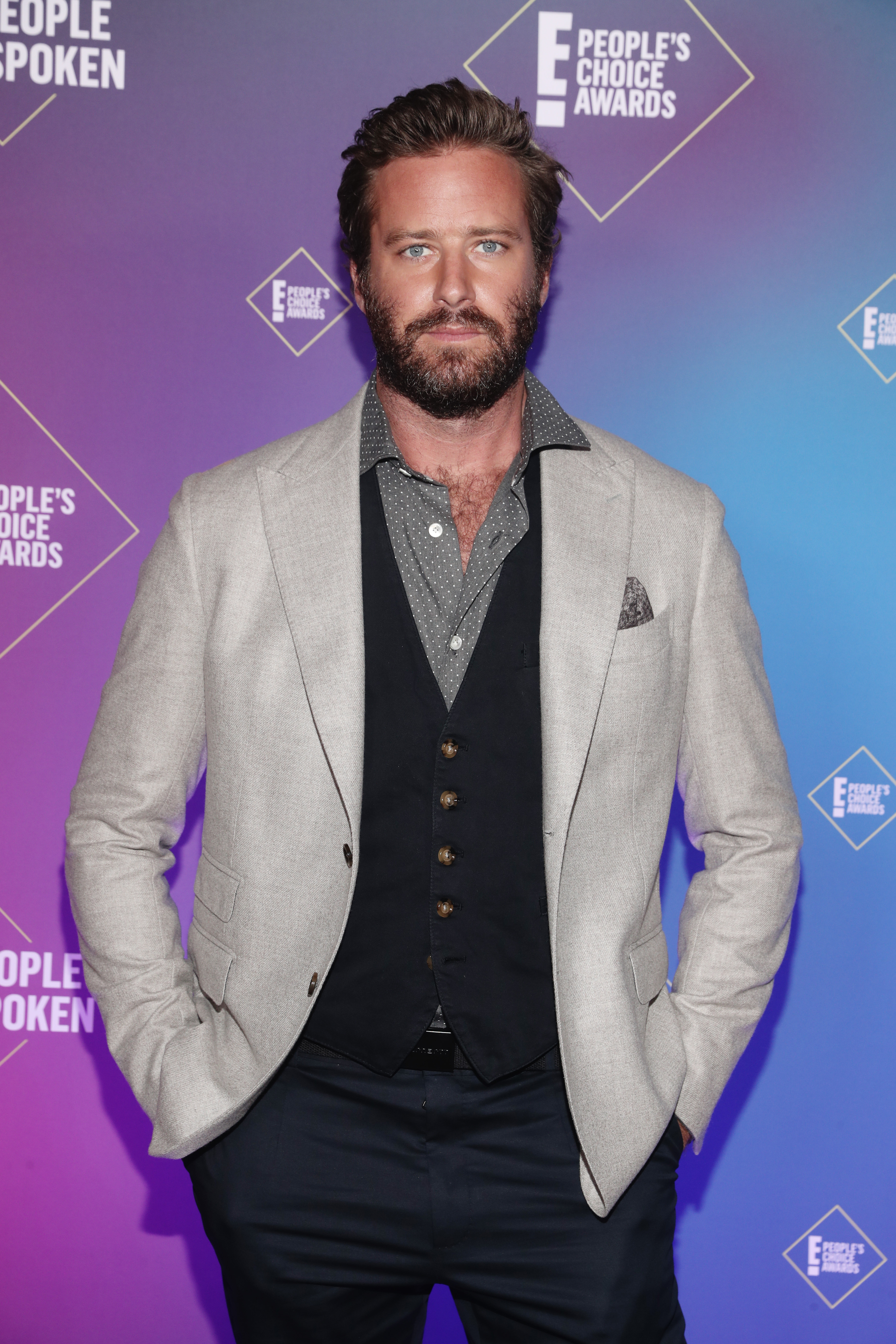 Armie Hammer attends the 2020 E! People's Choice Awards held at the Barker Hangar in Santa Monica, California and on broadcast on Sunday, November 15, 2020.