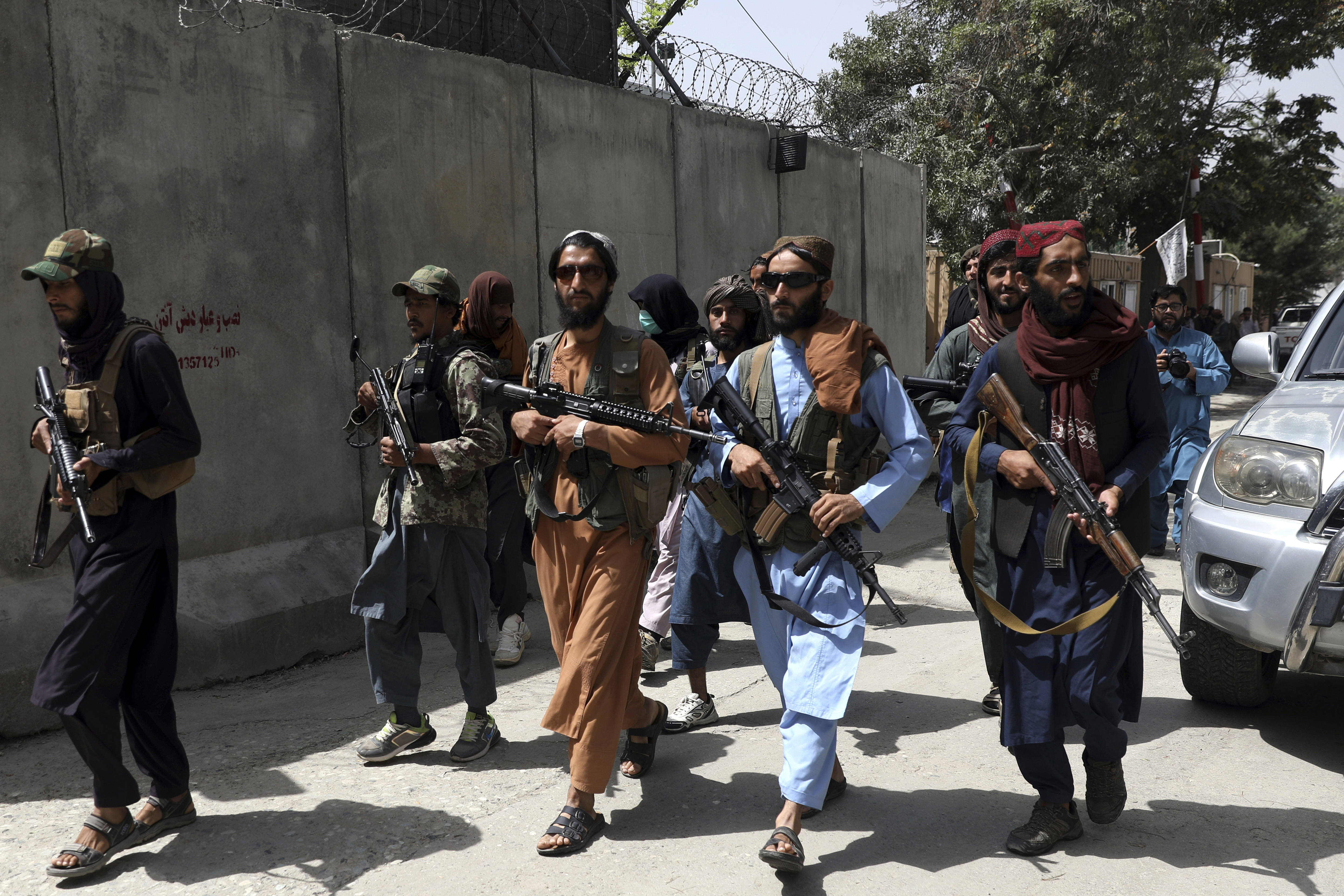 Taliban fighters patrol in Wazir Akbar Khan neighbourhood in the city of Kabul, Afghanistan.