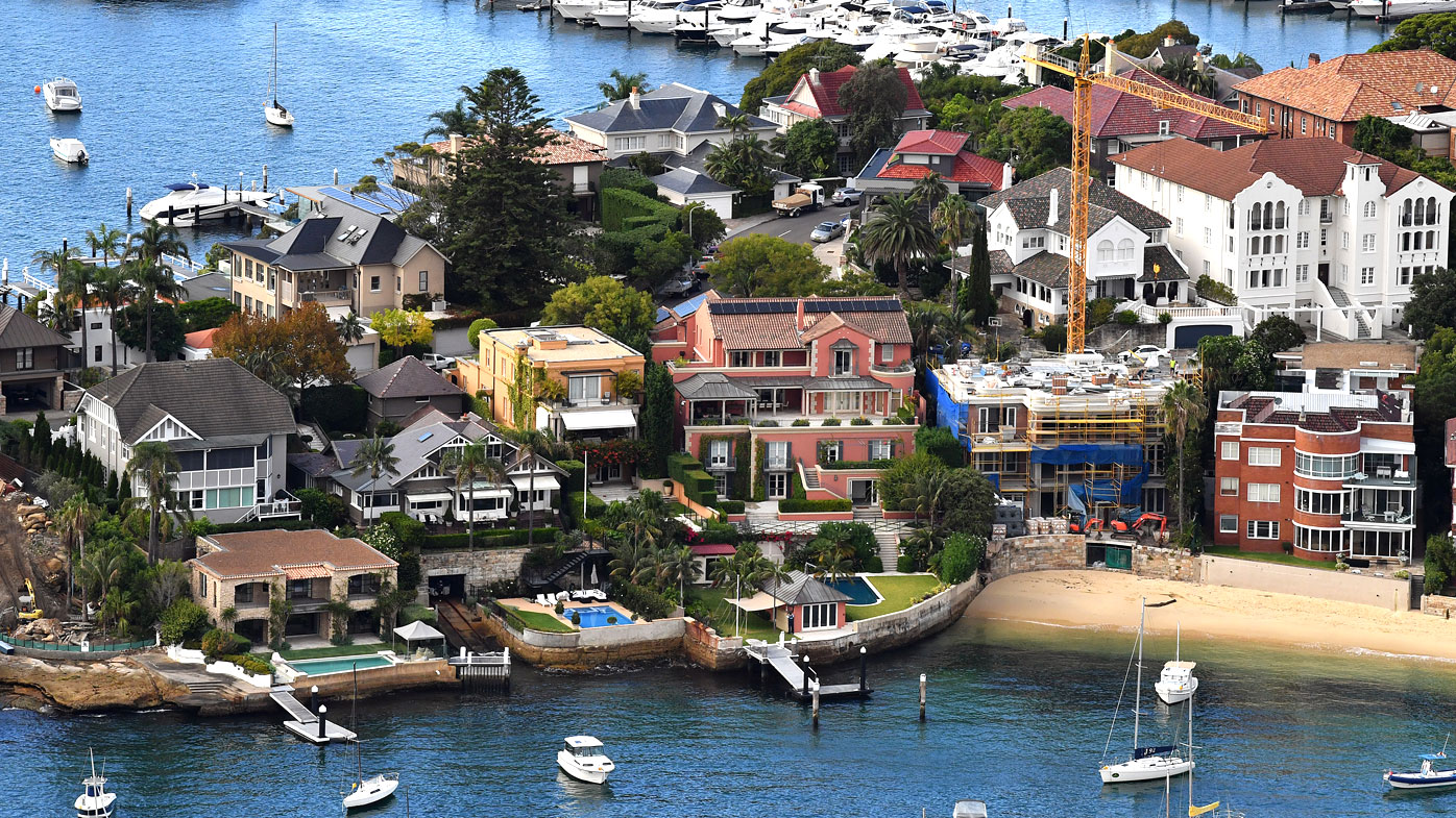 An aerial image of waterfront properties in Point Piper, Sydney.