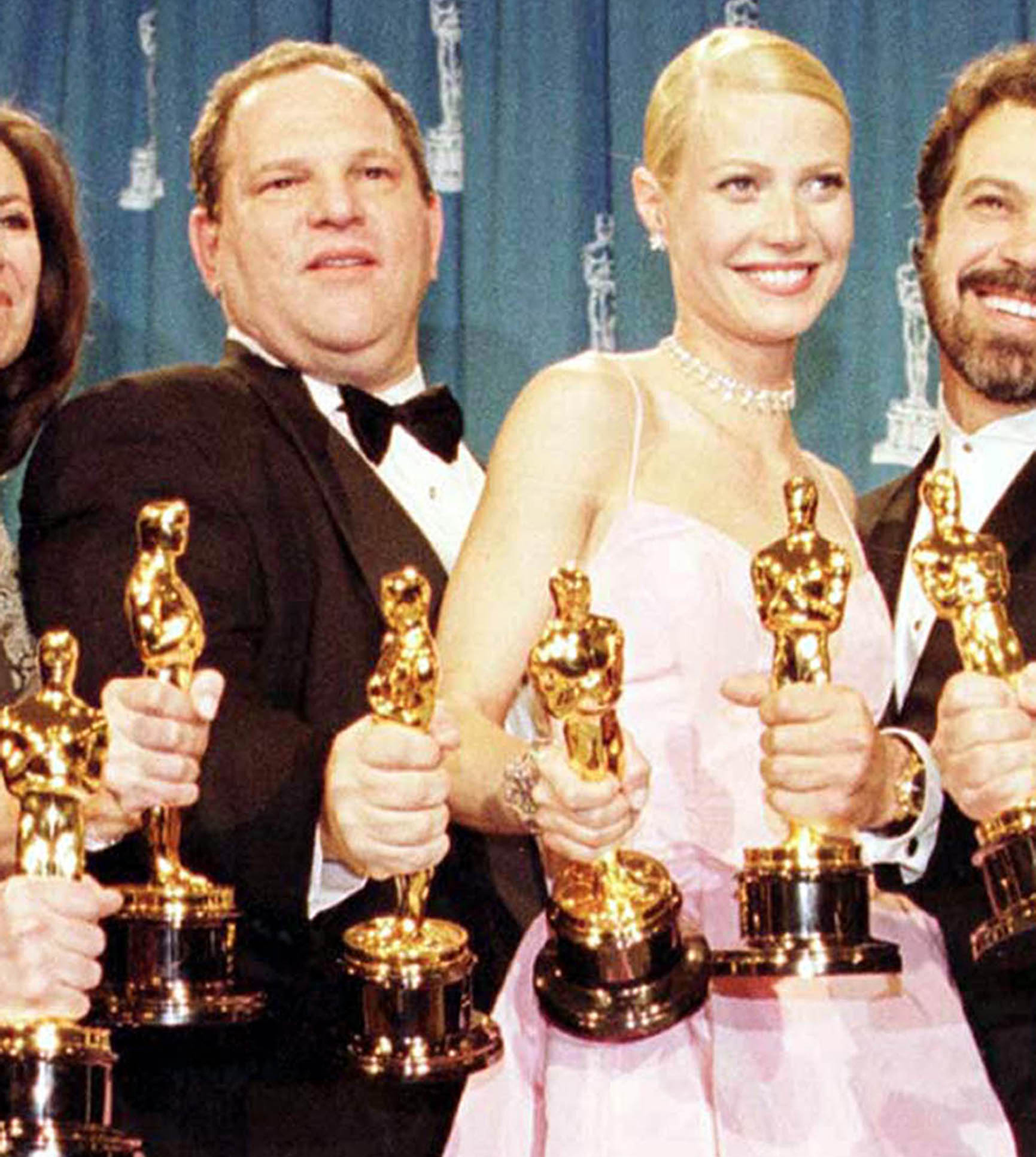Harvey Weinstein and Gwyneth Paltrow with Oscars for the film Shakespeare In Love.