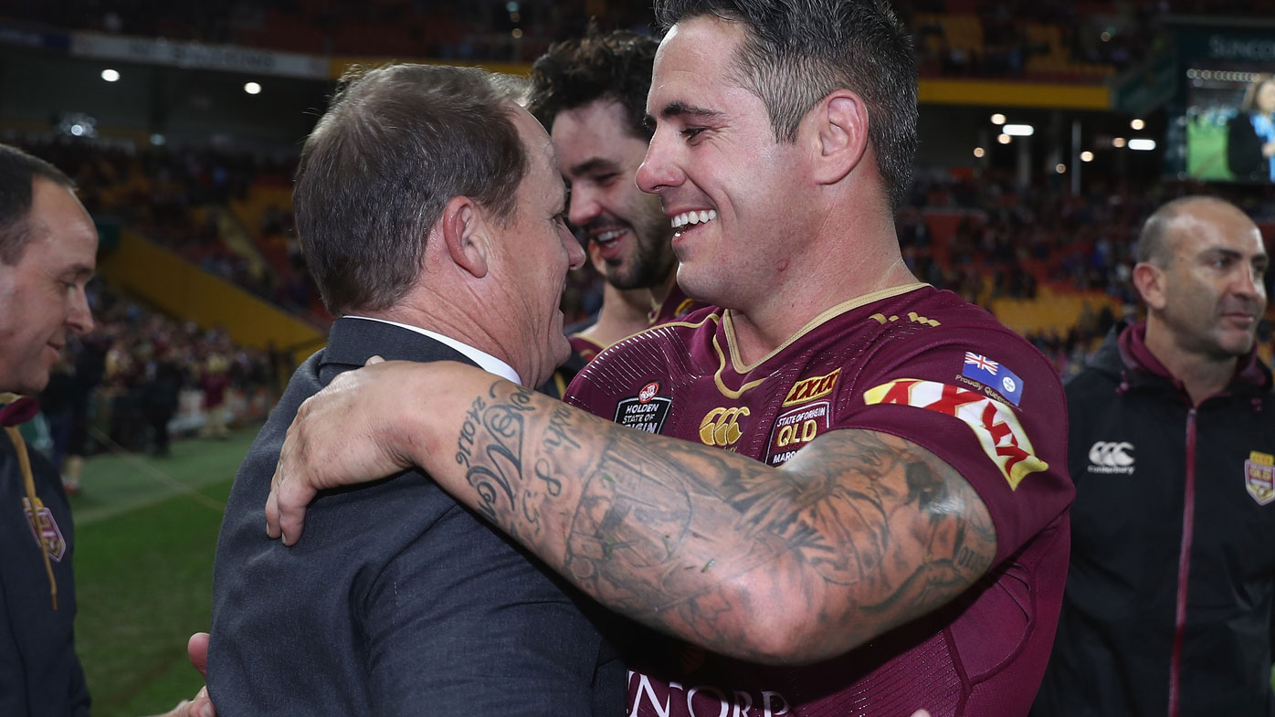 Walters and Parker share an embrace during the 2016 Origin series.
