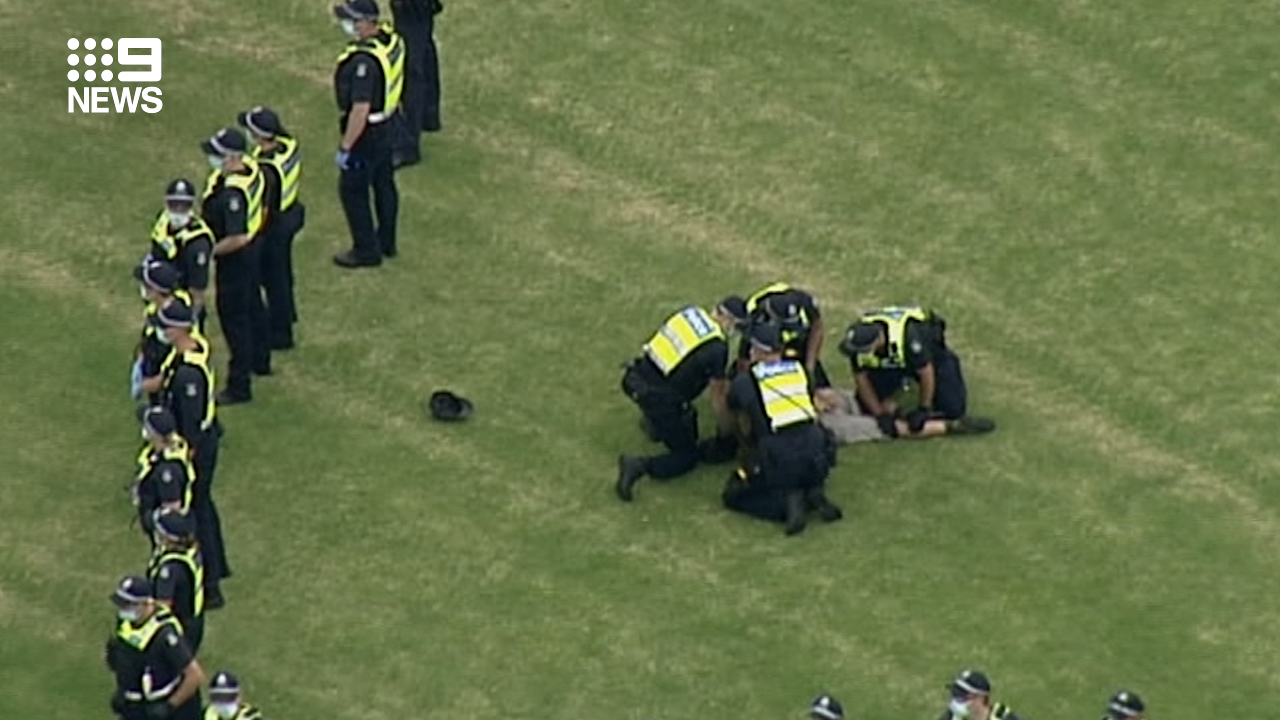 Arrests have been made at a protest against the coronavirus vaccine in Melbourne.