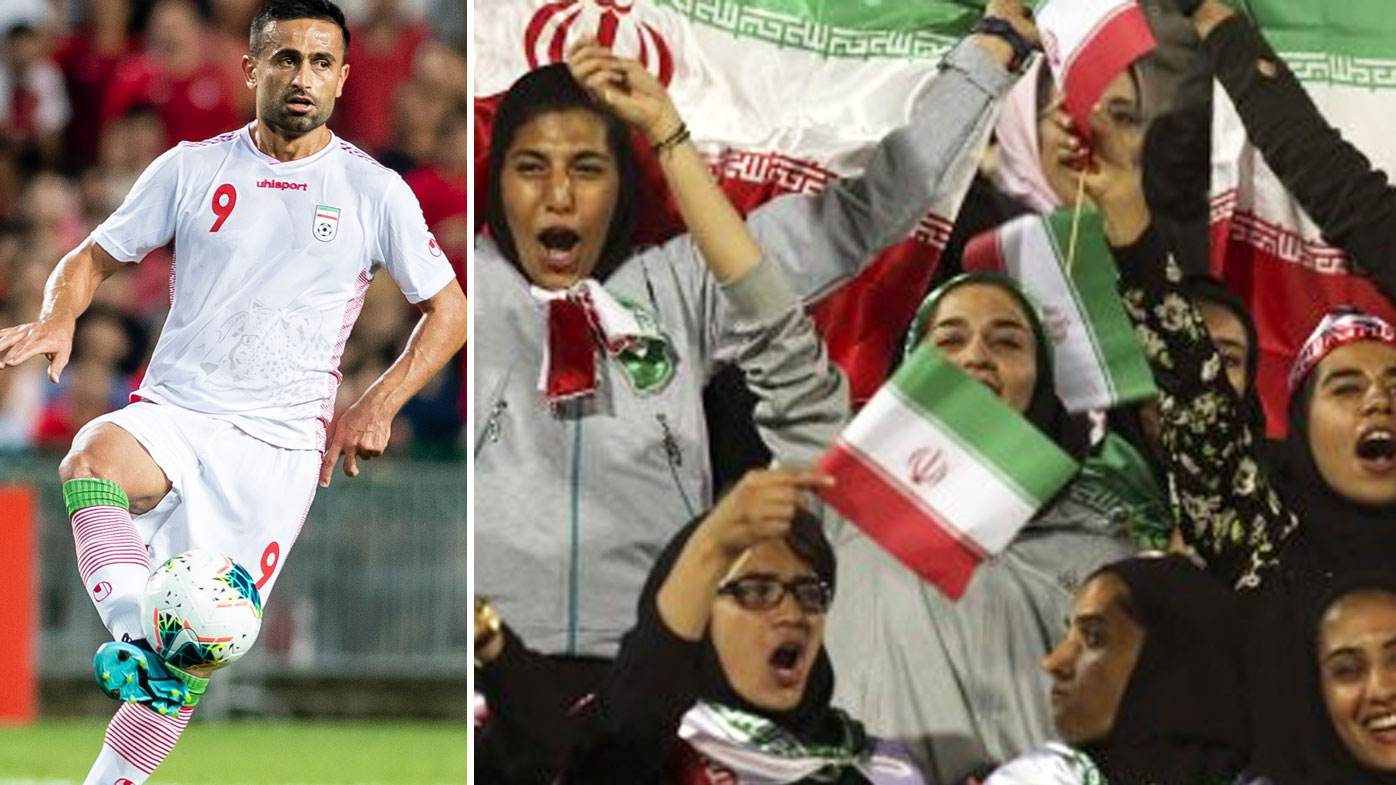 Iran women freely at Federation Internationale de Football Association  soccer match, 1st time in decades