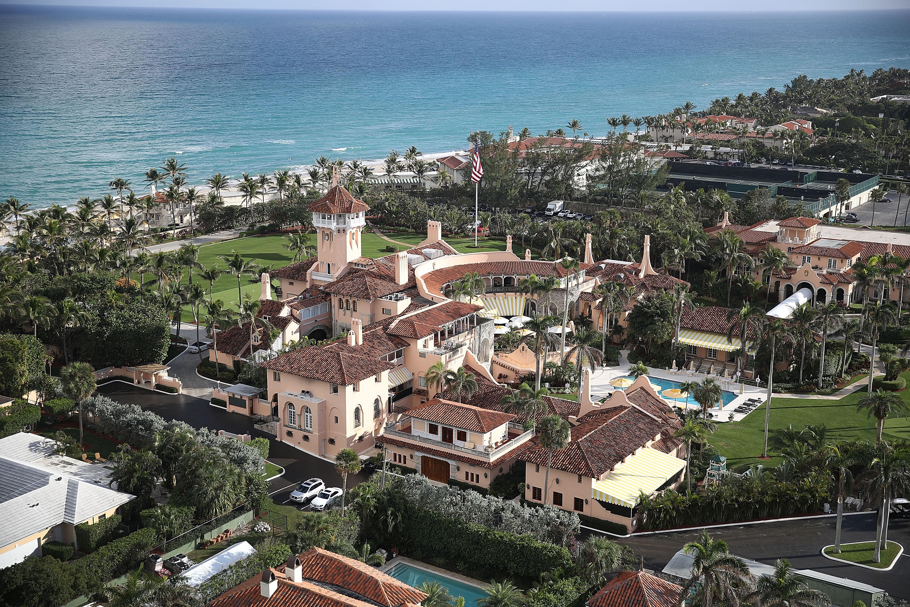 The Atlantic Ocean is seen adjacent to President Donald Trump's beach front Mar-a-Lago resort, also sometimes called his Winter White House.