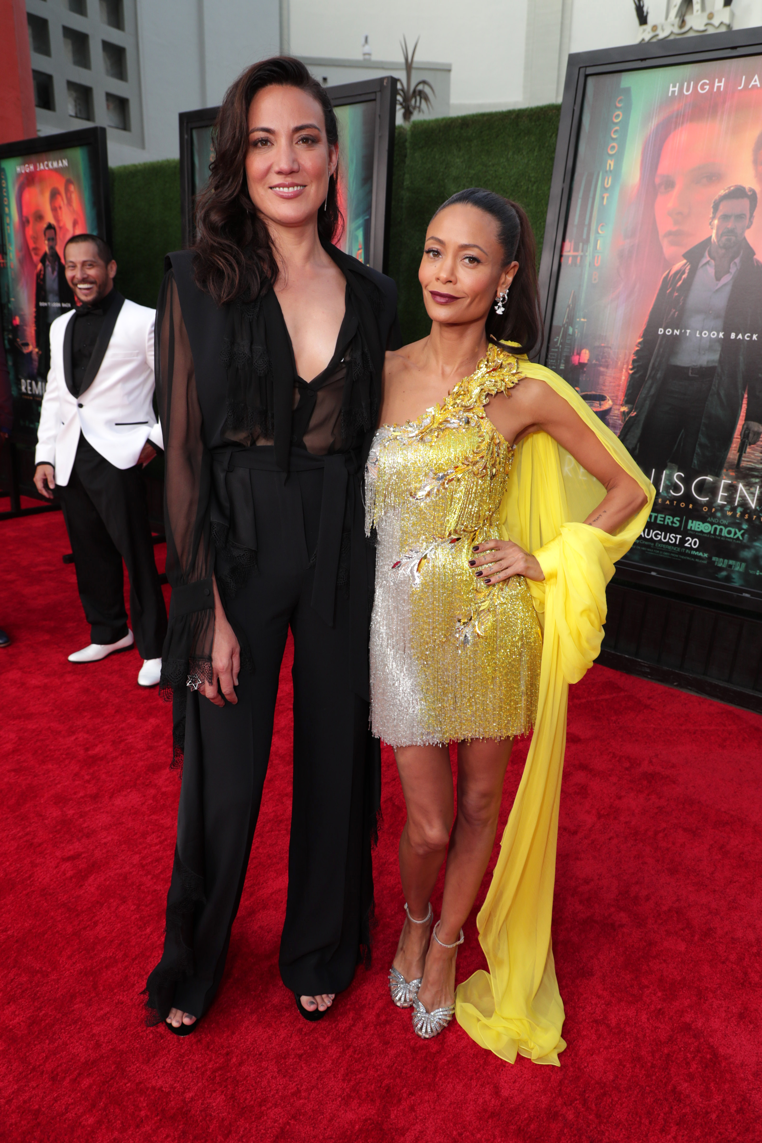 Director Lisa Joy and actress Thandiwe Newton attend the LA premiere of Reminiscence on August 19.