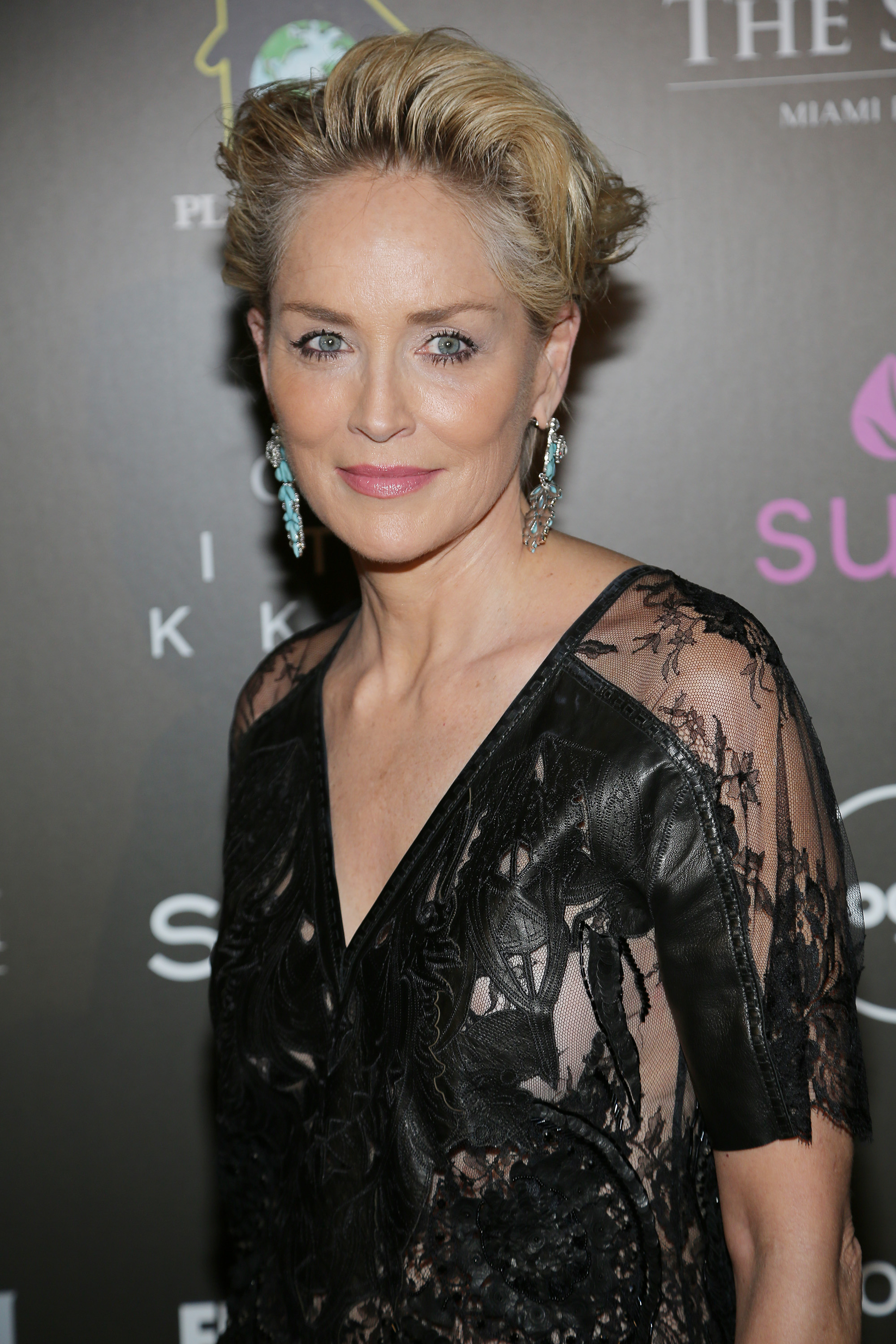 """Sharon Stone is seen at the """"Celebration of Hope"""" event during FUNKSHION: Fashion Week Miami Beach at The Setai Hotel on November 6, 2015 in Miami Beach, Florida."""