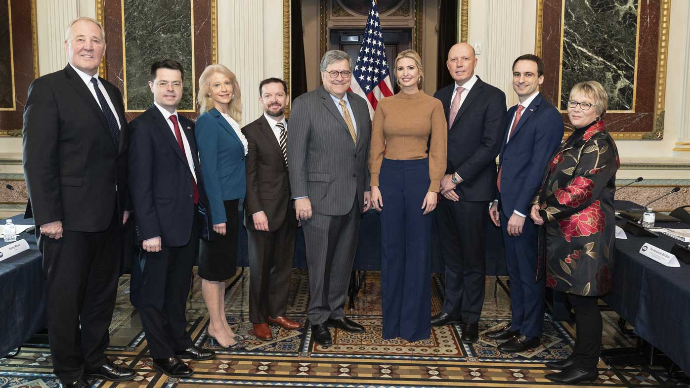 William Barr, Ivanka Trump and Peter Dutton, with other officials.