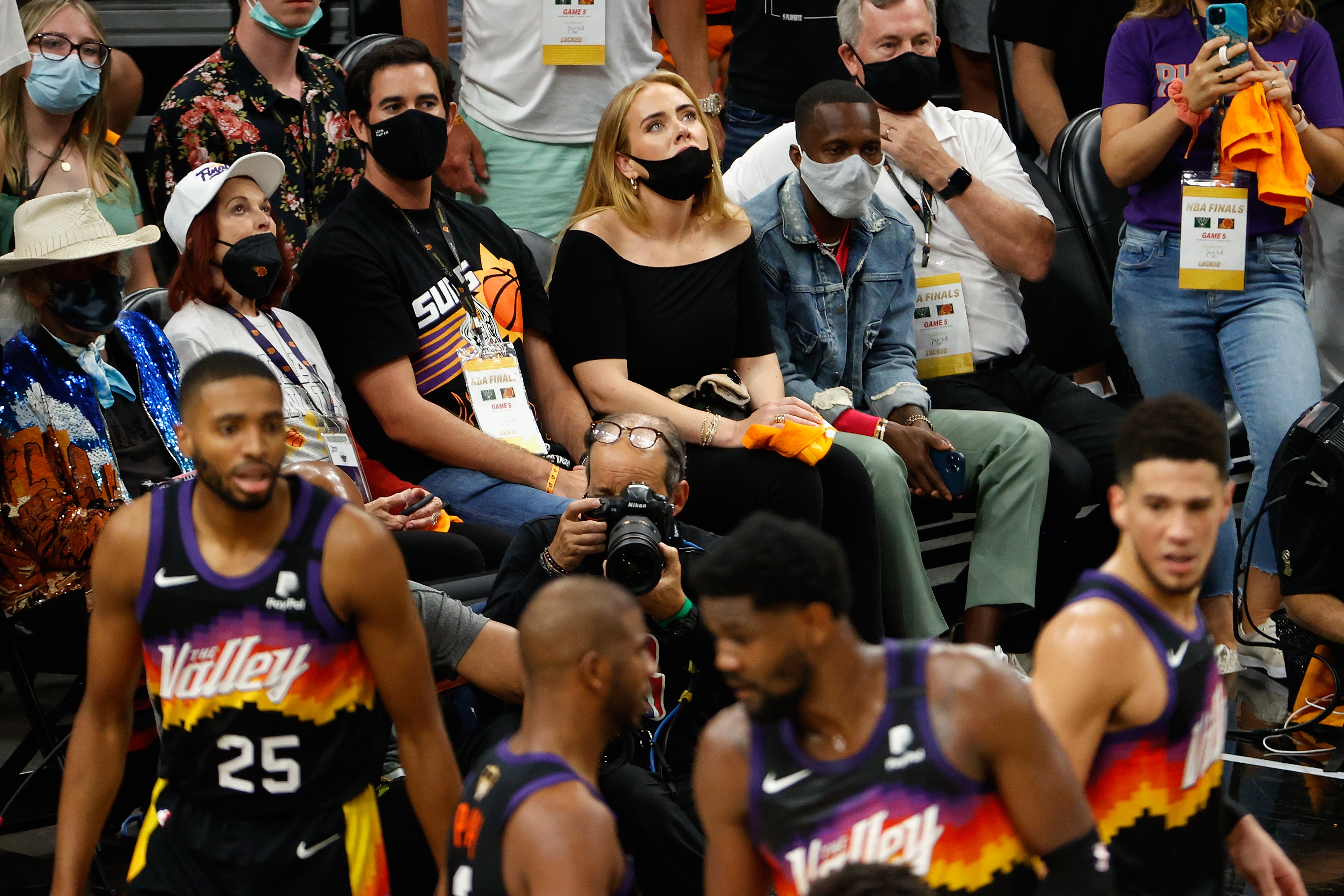Singer Adele and Rich Paul attend game five of the NBA Finals at Footprint Center on July 17, 2021 in Phoenix, Arizona.  The Bucks defeated the Suns 123-119.