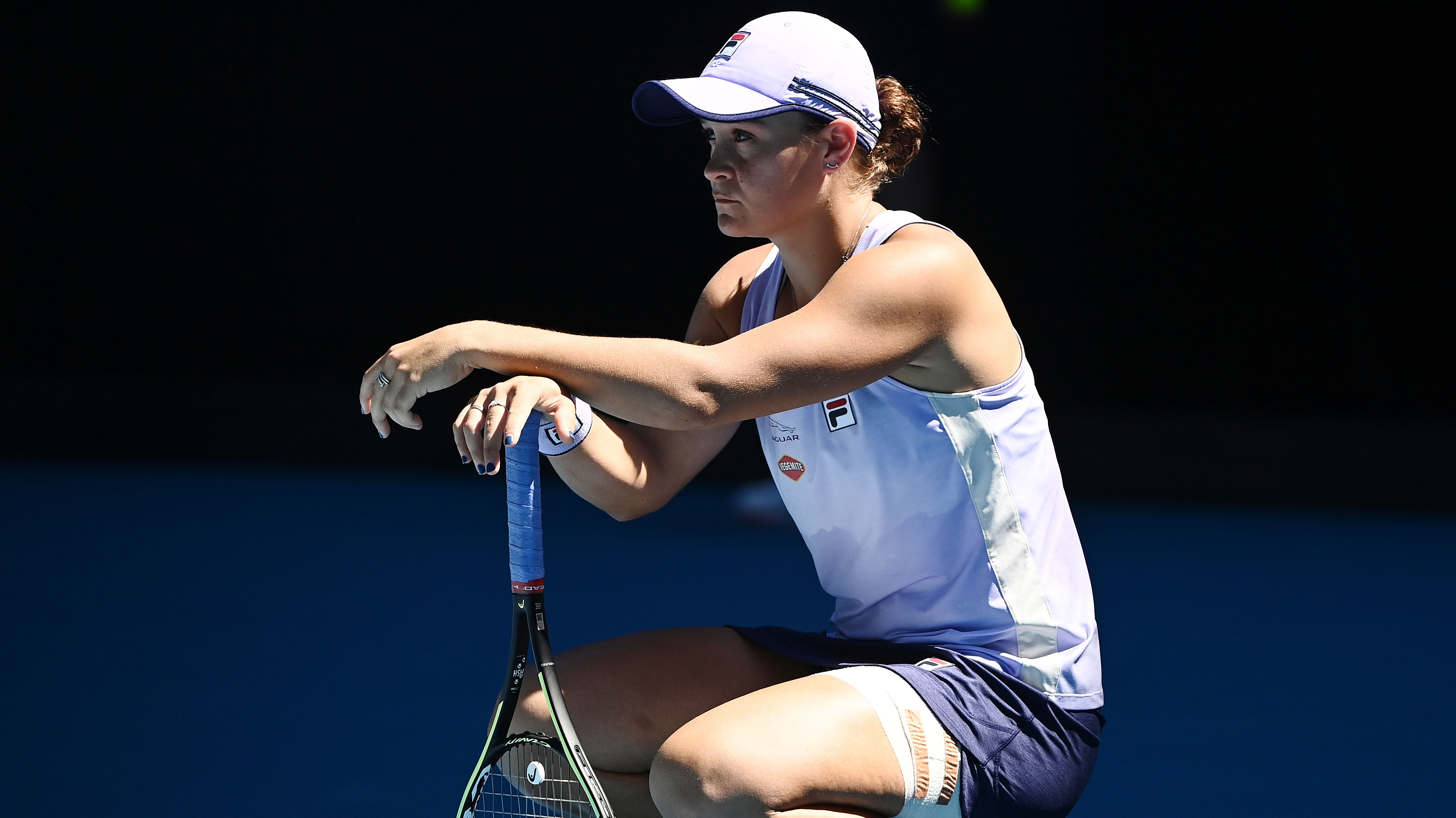 Ash Barty cuts a frustrated figure during her Australian Open quarter-final against Karolina Muchova.
