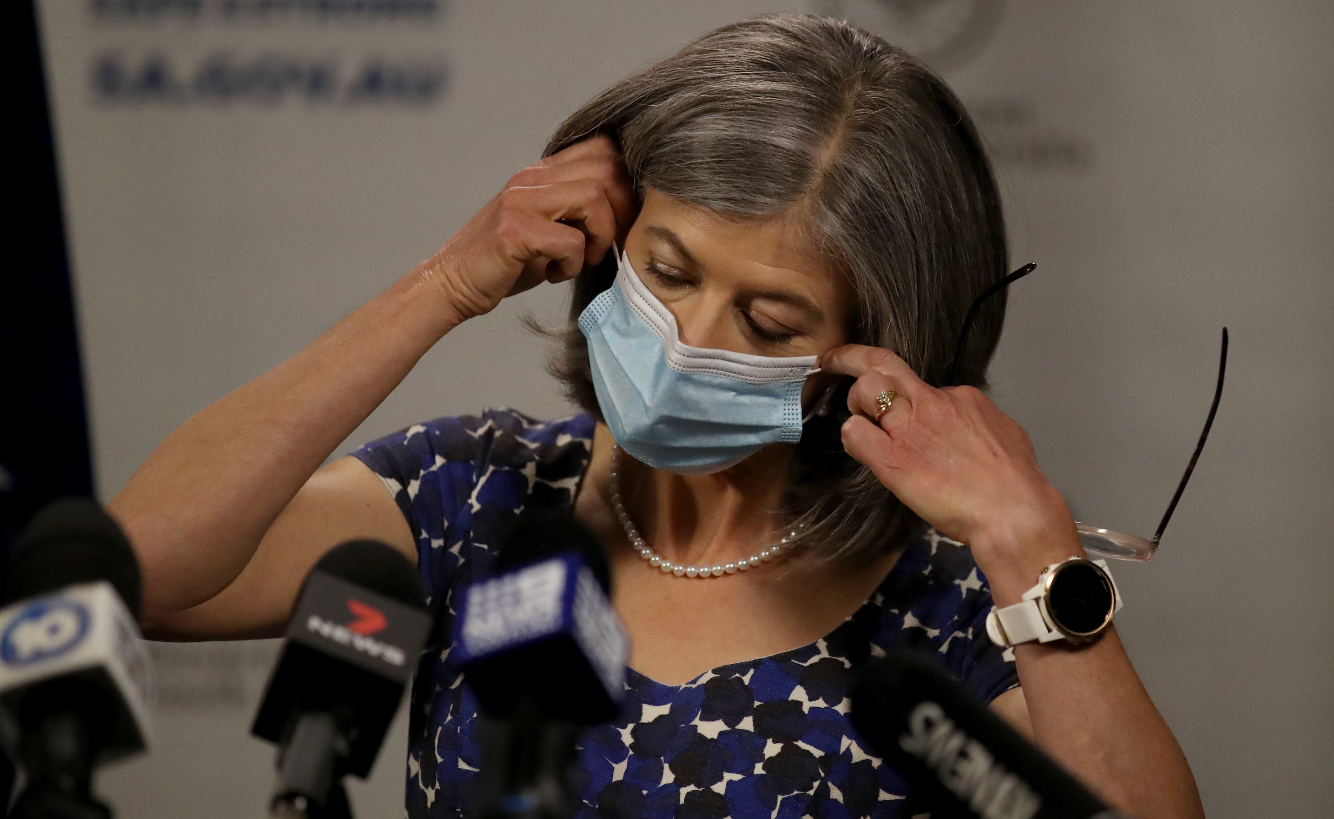 South Australian Chief Public Health Officer Nicola Spurrier removes her mask during the COVID-19 daily update on November 18, 2020 in Adelaide, Australia.
