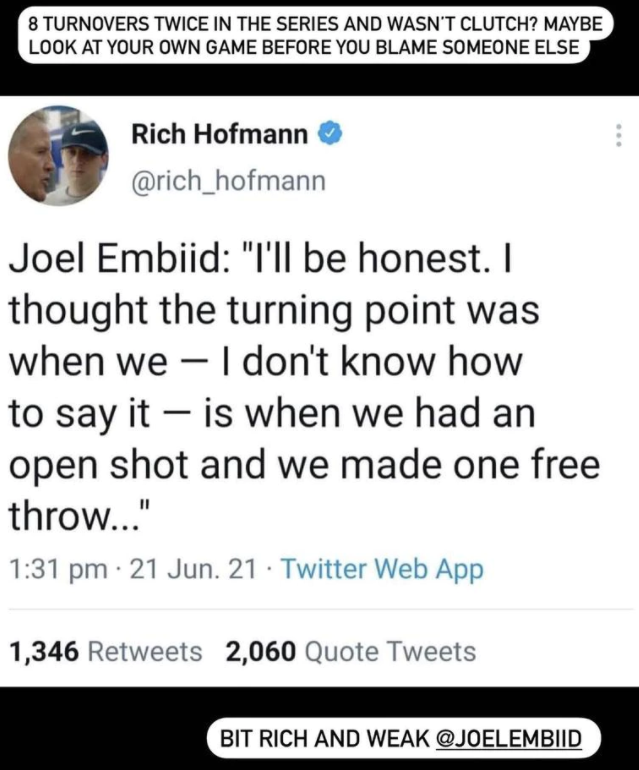 Christian Petracca took to Instagram to hit back at Joel Embiid over his comments on Ben Simmon.