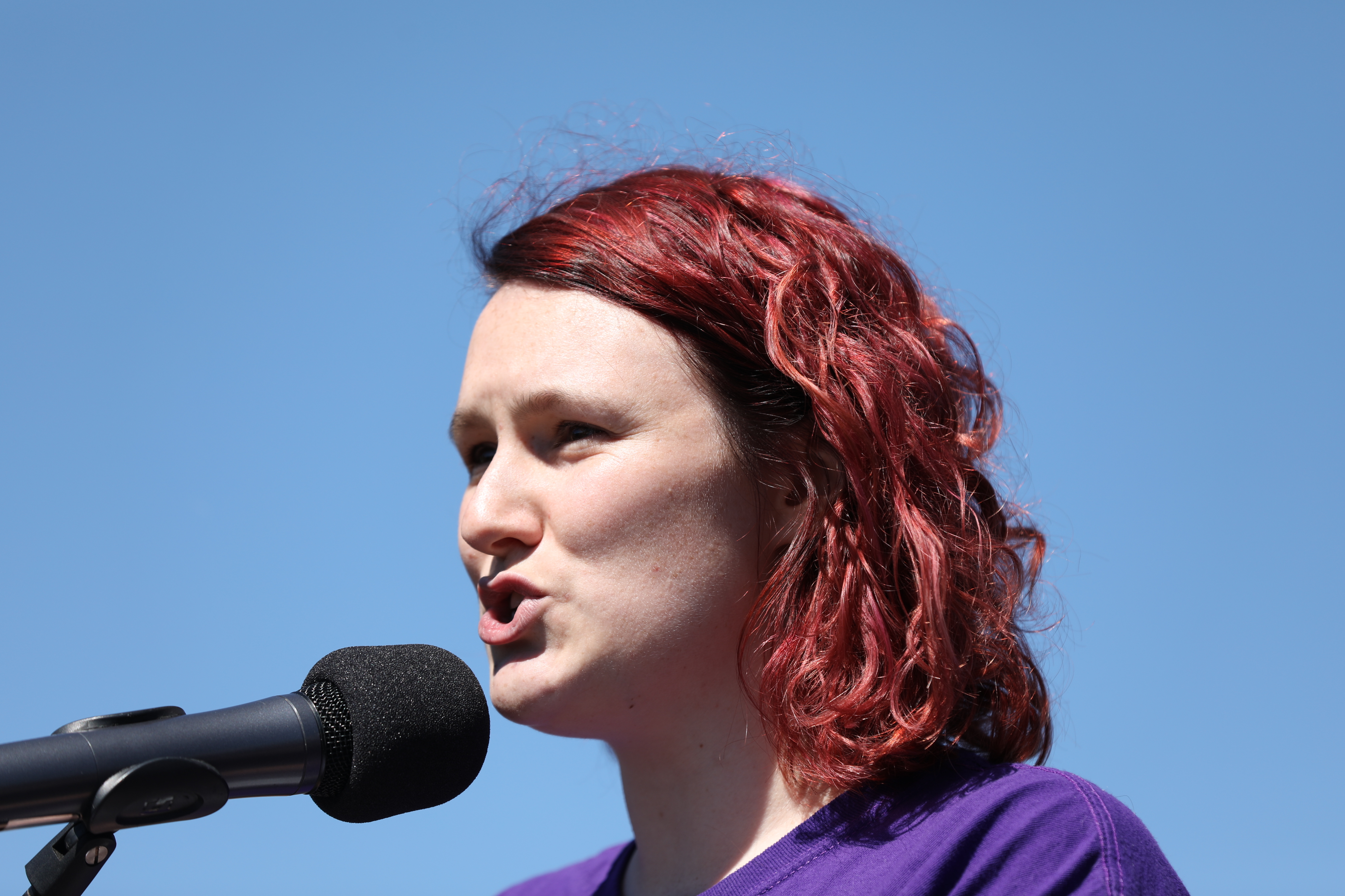 Saxon Mullins speaks at the March 4 Justice protest in Canberra on March 15.