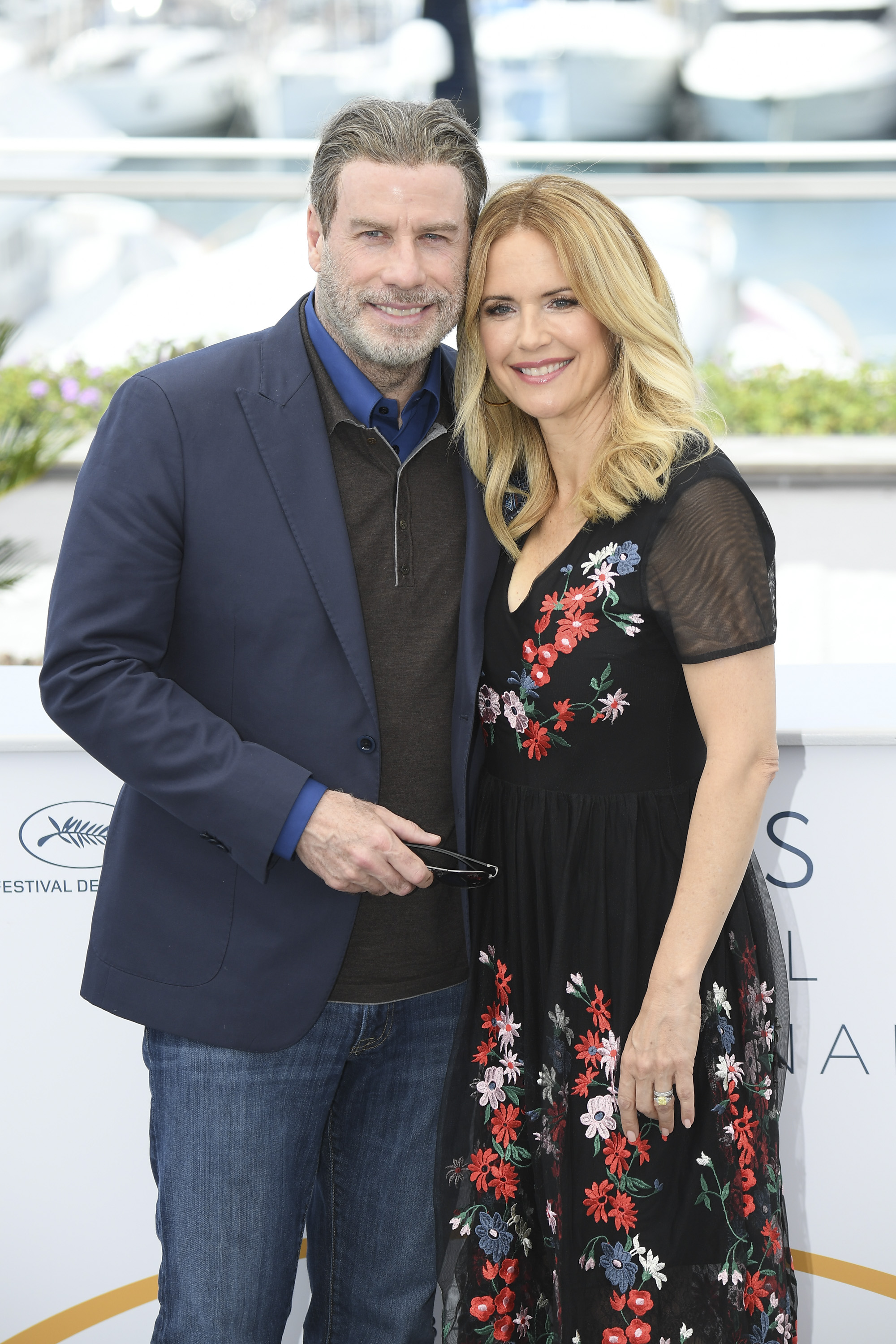 John Travolta and Kelly Preston at the 71st annual Cannes Film Festival at Palais des Festivals on May 15, 2018 in Cannes, France.
