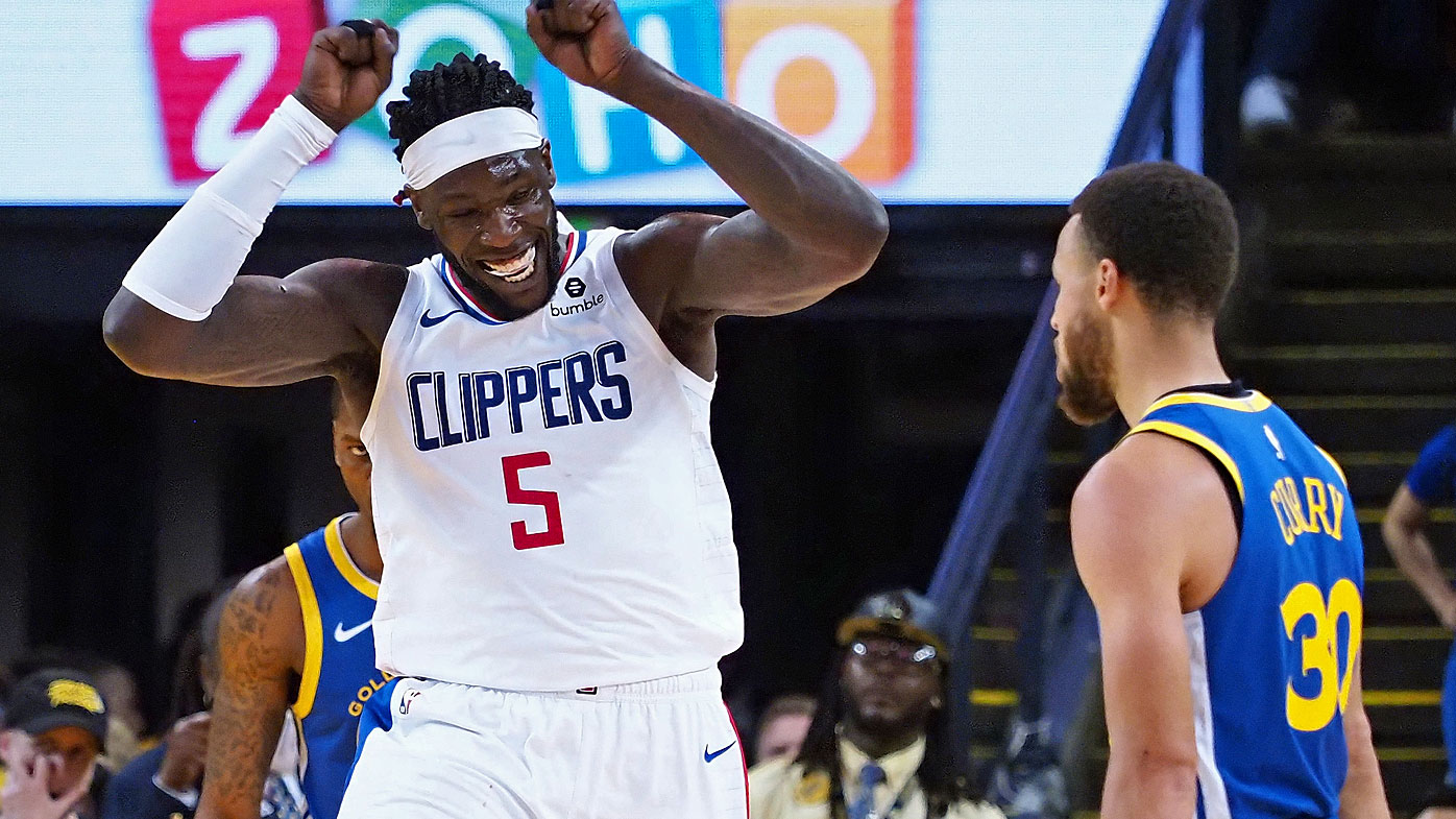 LA Clippers forward Montrezl Harrell (5) celebrates after a dunk against the Golden State Warriors