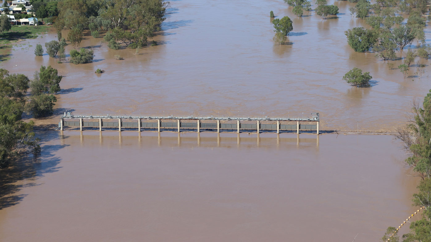A supplied image obtained on Thursday, February 27, 2020, shows a swollen Balonne river flooding the Andrew Nixon bridge in St George, south-western Queensland. The Balonne river has peaked at 12.2 metres, causing local flooding.