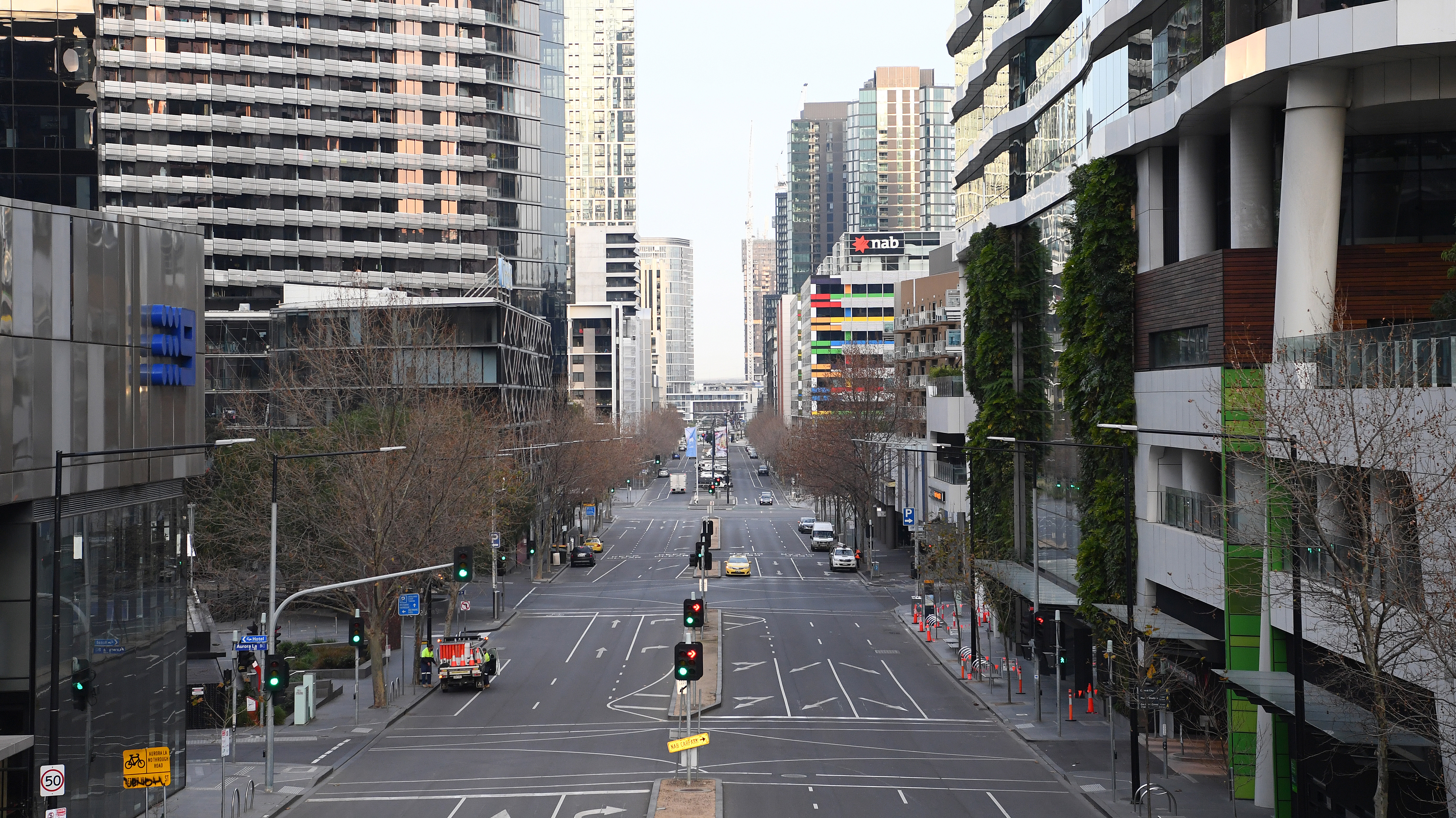 Empty streets are seen on August 11, 2020 in Melbourne, Australia.