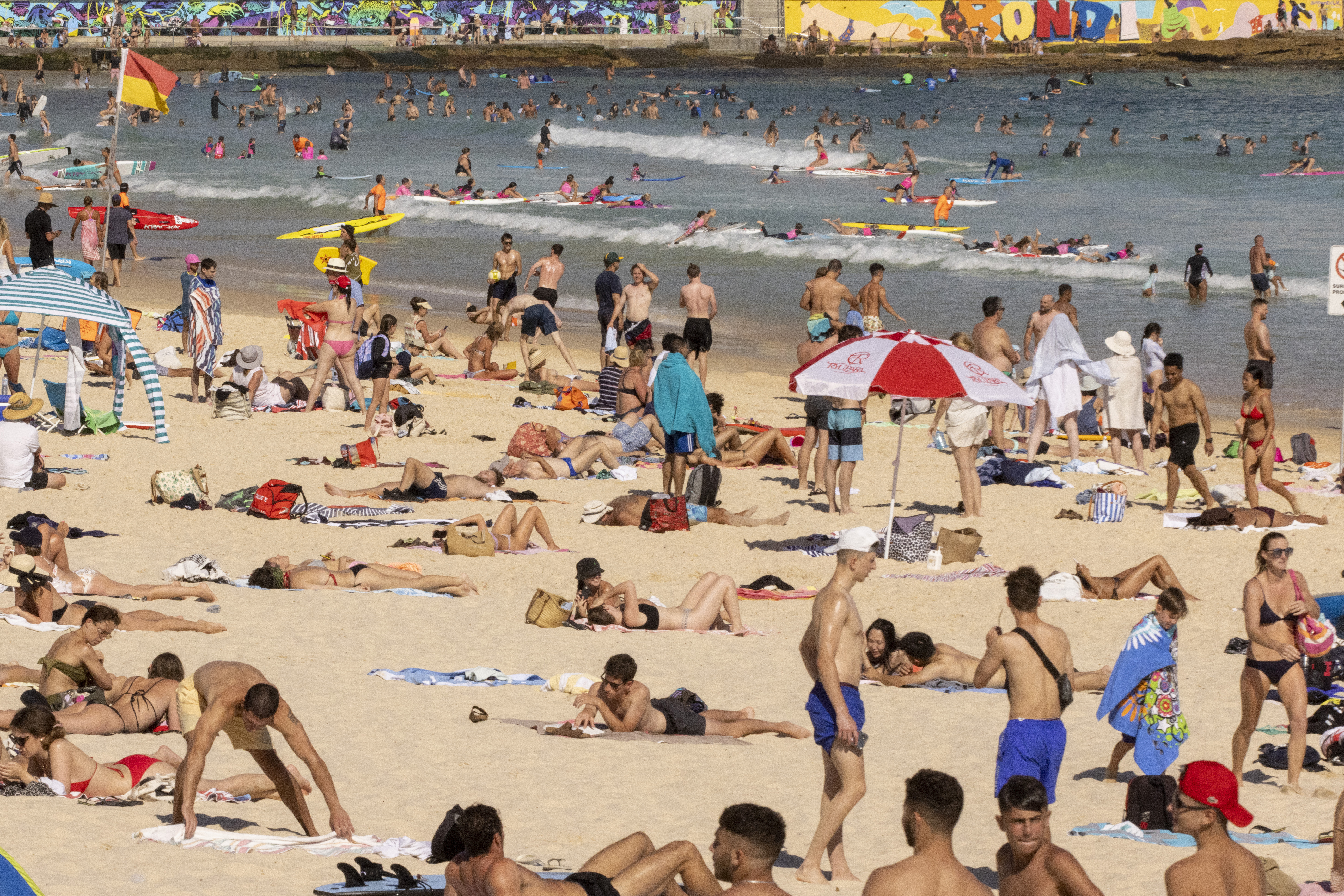 A general view of Bondi Beach on January 18, 2021 in Sydney, Australia.