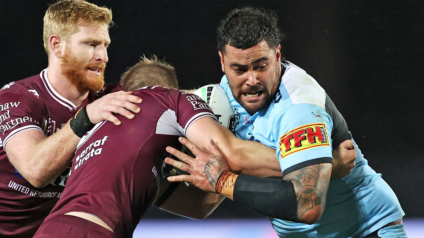 Andrew Fifita of the Sharks is tackled