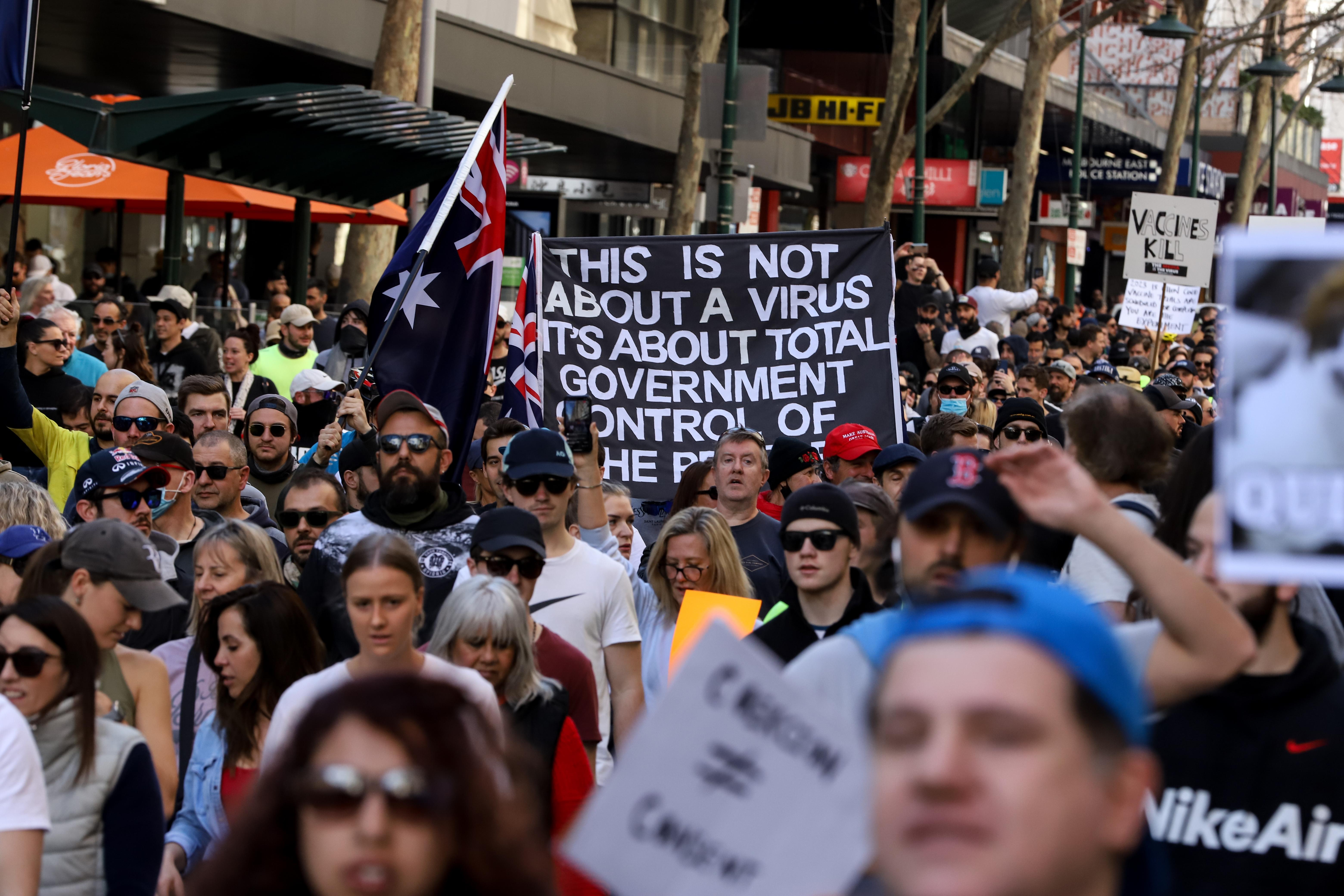 Melbourne anti-lockdown protests, Saturday August 21, 2021.