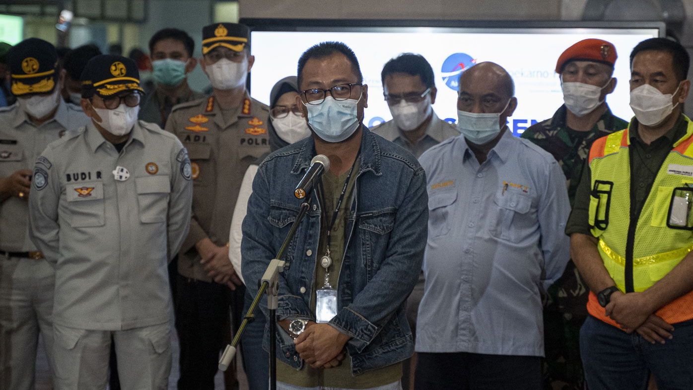 Head of Sriwijaya Airline Jefferson Jauwena speaks during press conference at the crisis centre in Soekarno Hatta Airport, on January 09, 2021 in Jakarta, Indonesia