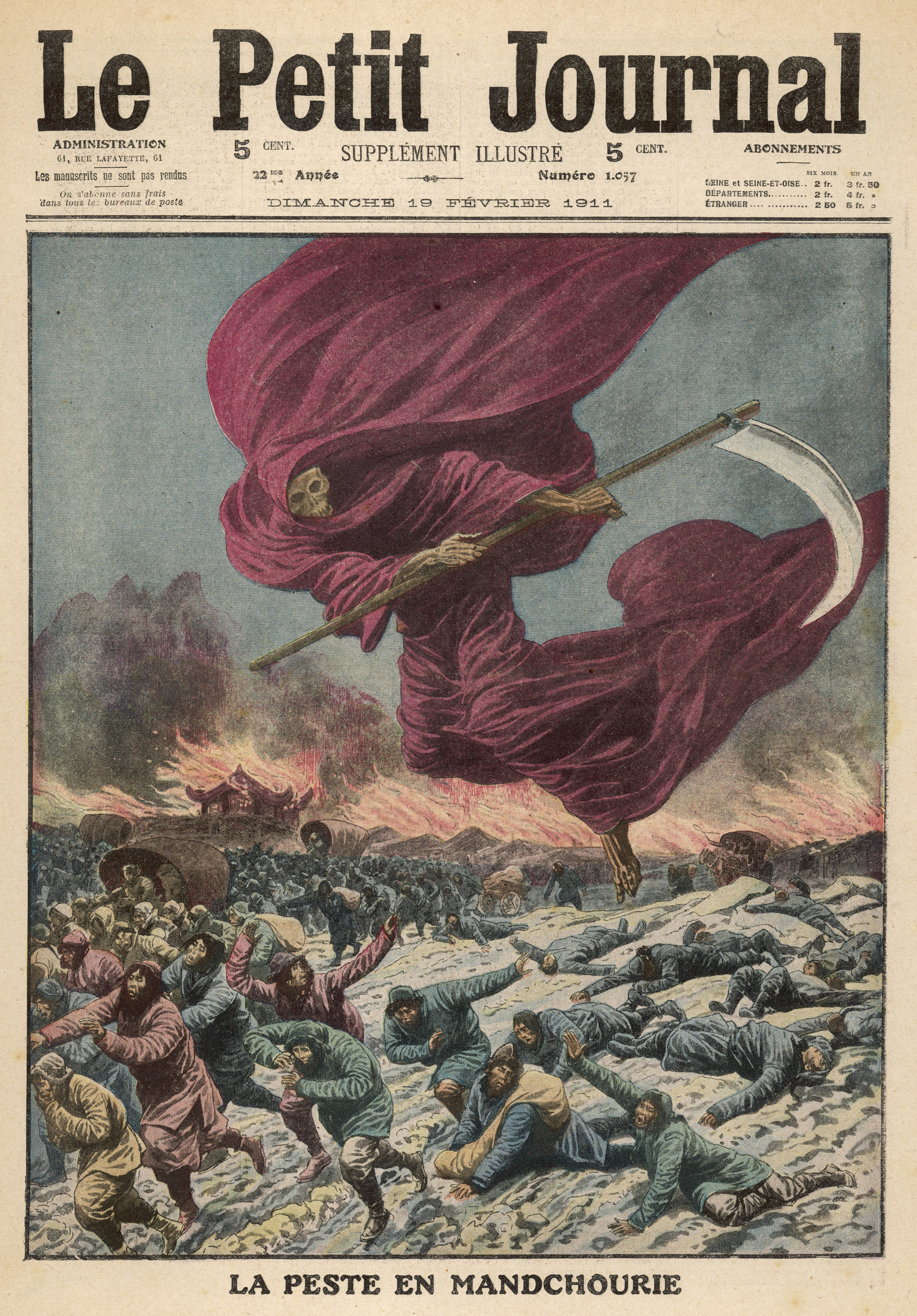 An illustration of The Plague scouring over the  Manchurians, with his scythe,  dressed in a deep red robe from 1911, published in Le Petit Journal