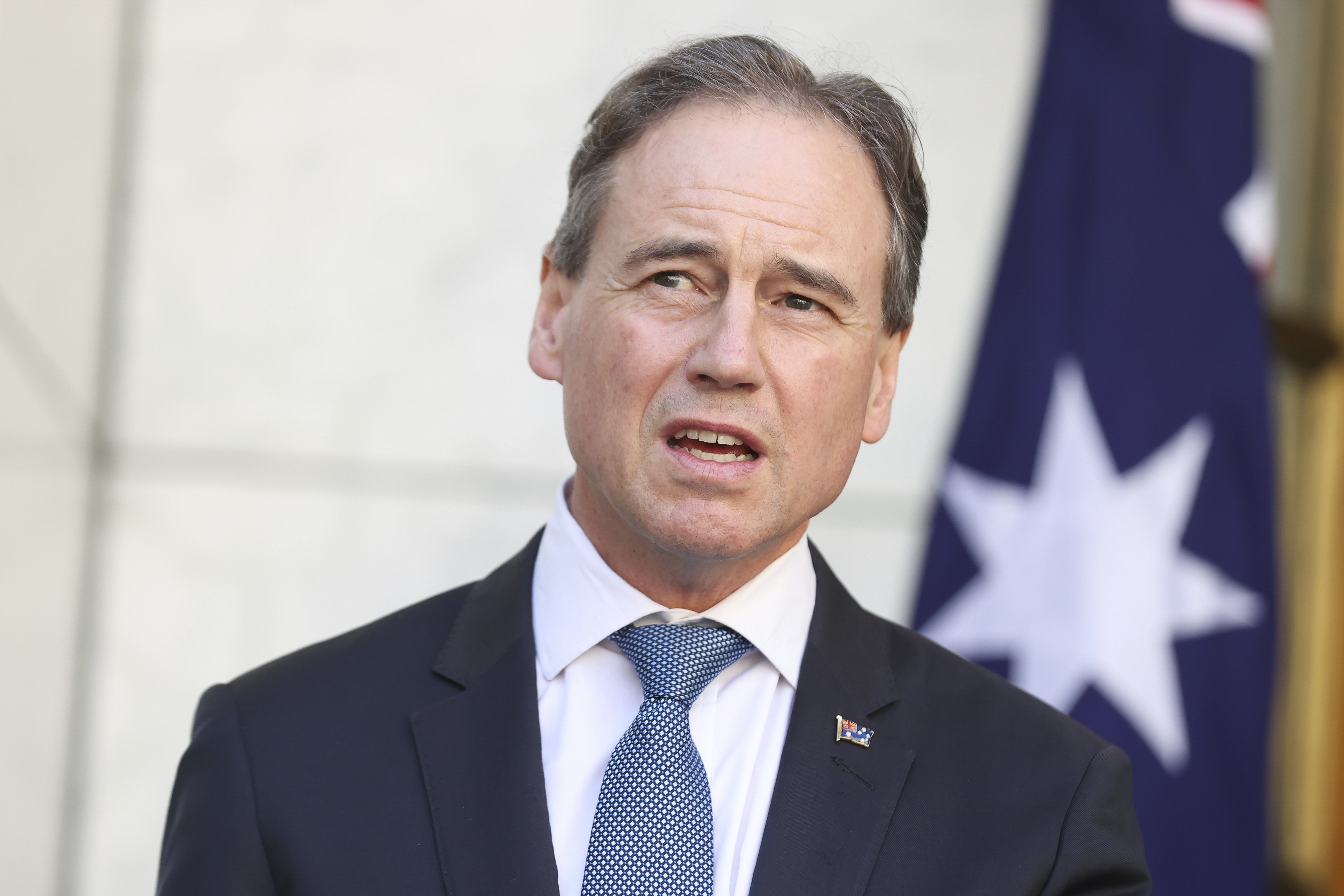 Minister for Health and Aged Care Greg Hunt  during a press conference at Parliament House in Canberra on Friday 3 September 2021. fedpol Photo: Alex Ellinghausen