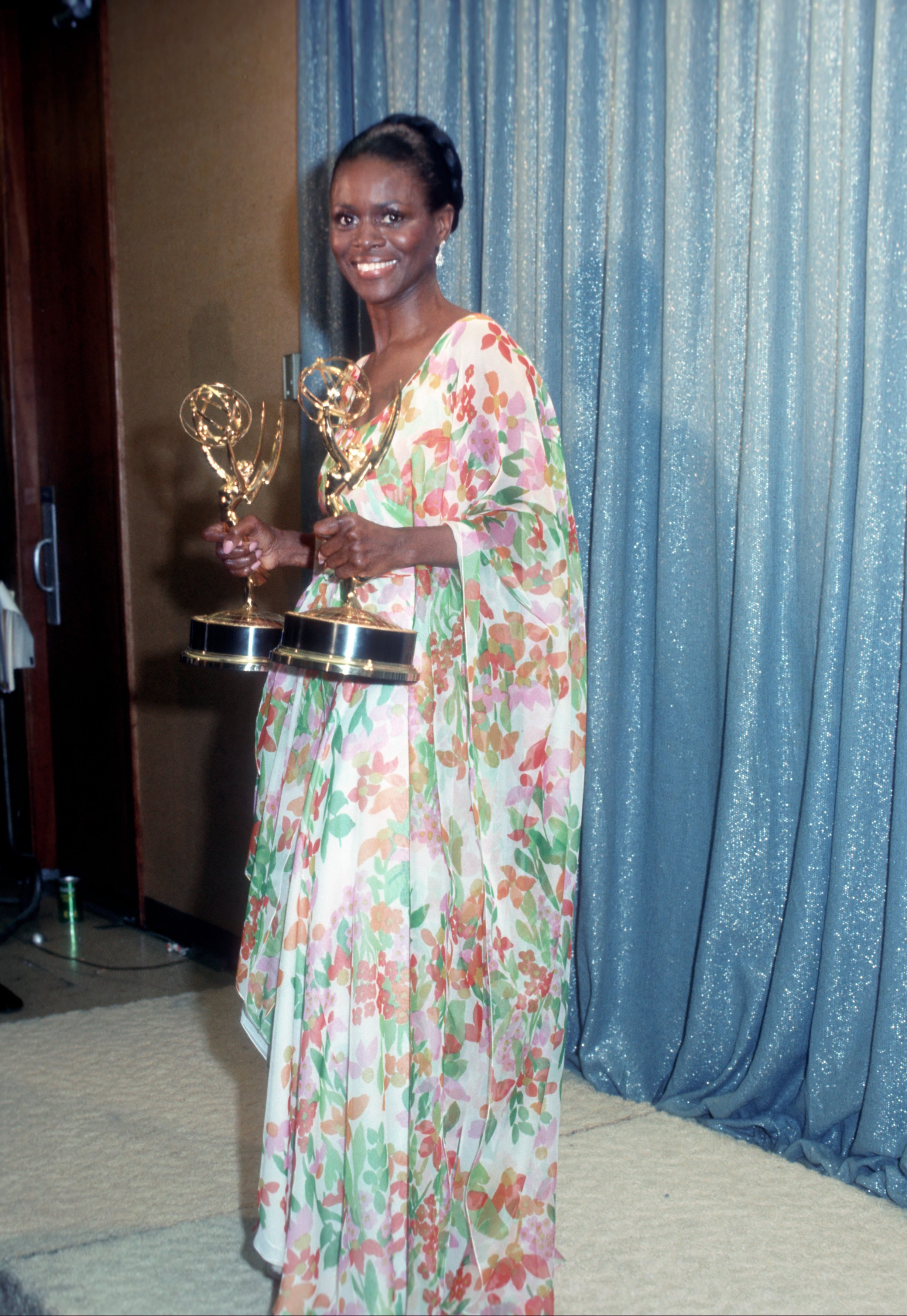 Cicely Tyson holds the two Emmy Awards that she won for her performance in The Autobiography Of Miss Jane Pittman on May 28, 1974 in Los Angeles, California.