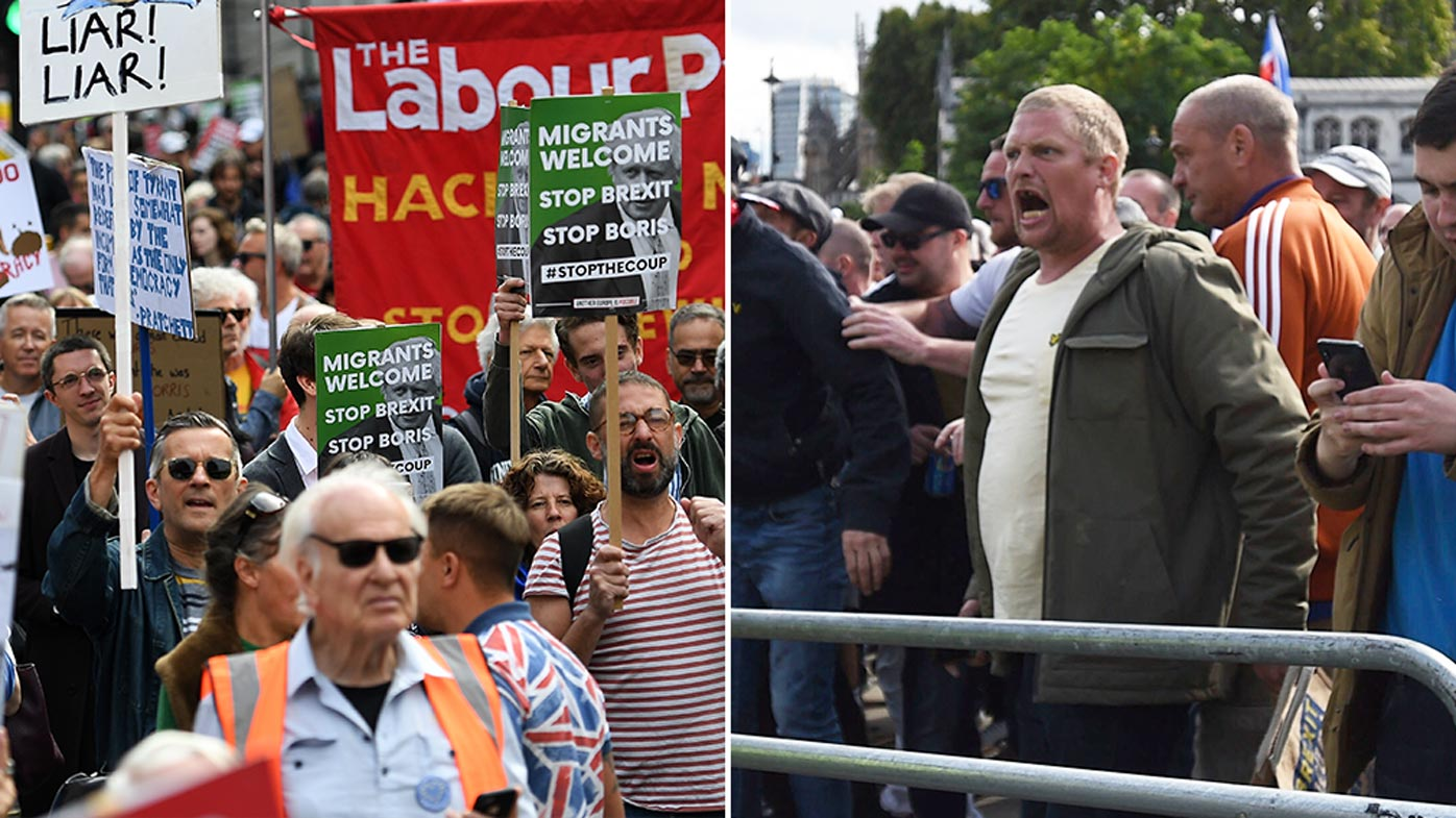 Tensions threaten to spill over at London Brexit protests