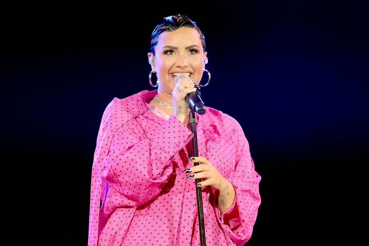 """Demi Lovato performs onstage during the OBB Premiere Event for YouTube Originals Docuseries """"Demi Lovato: Dancing With The Devil"""" at The Beverly Hilton on March 22, 2021 in Beverly Hills, California."""