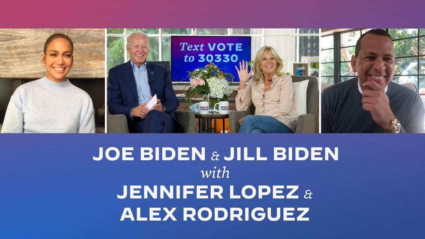 Jennifer Lopez and Alex Rodriguez chat to Joe Biden & Dr. Jill Biden in virtual Q&A in October