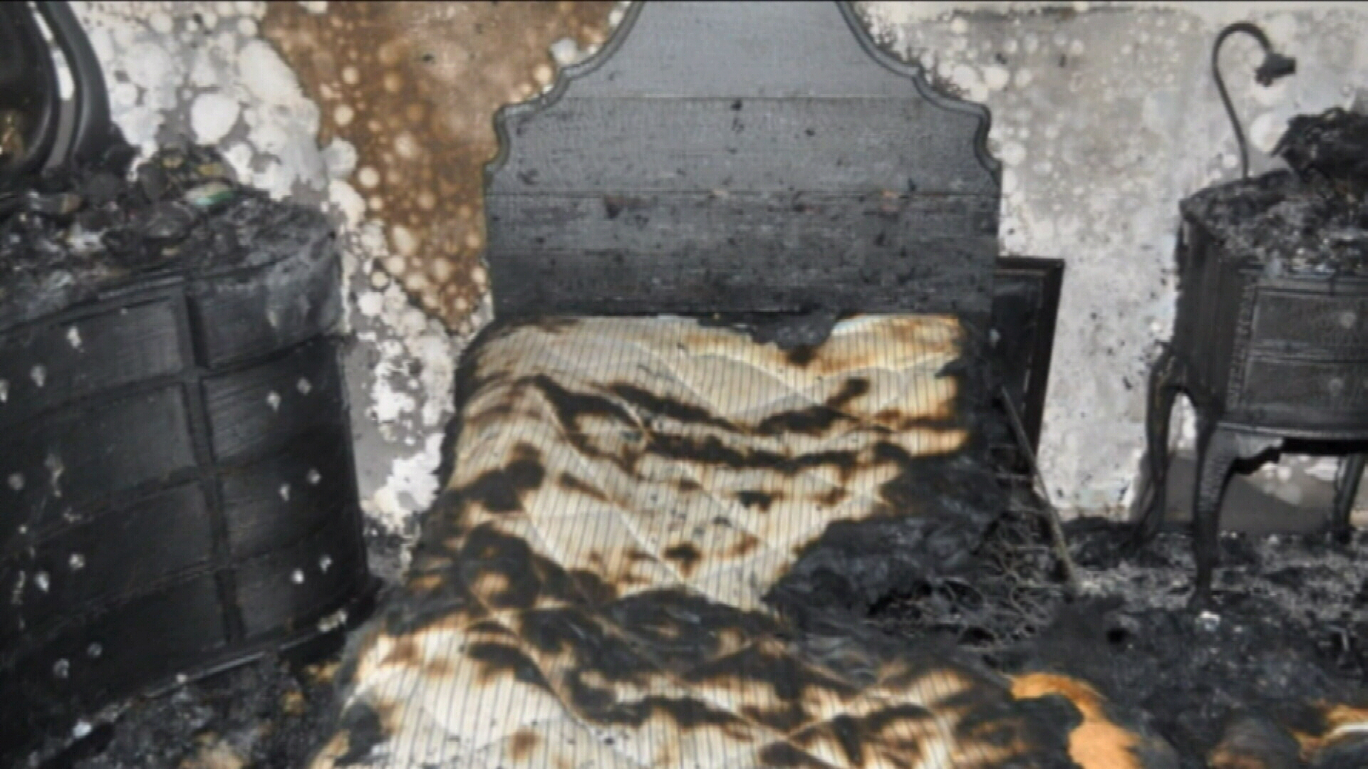 Someone's bed completely burnt and charred after heatpack started fire.