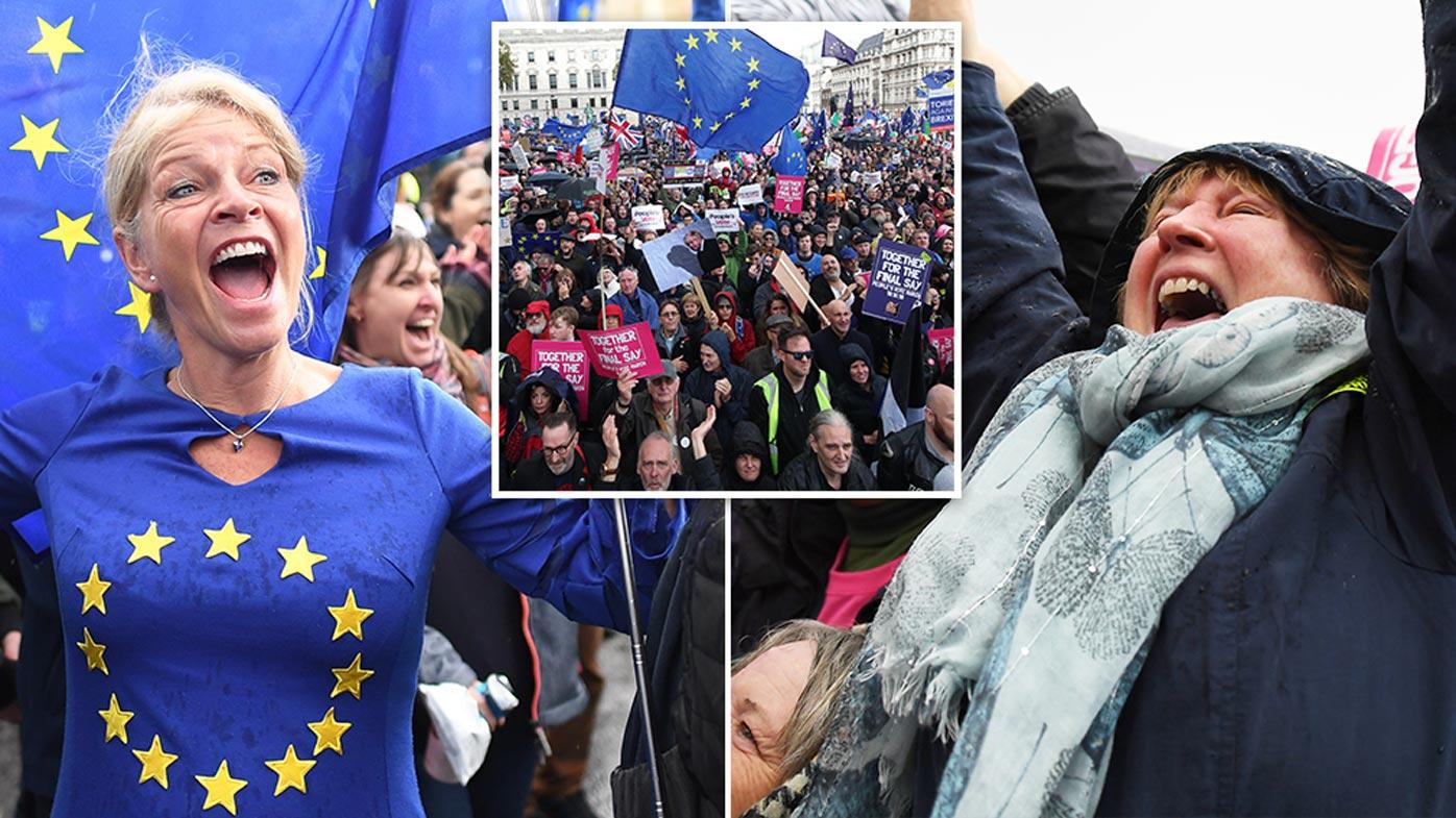Protesters celebrate as Johnson dealt Brexit delay blow