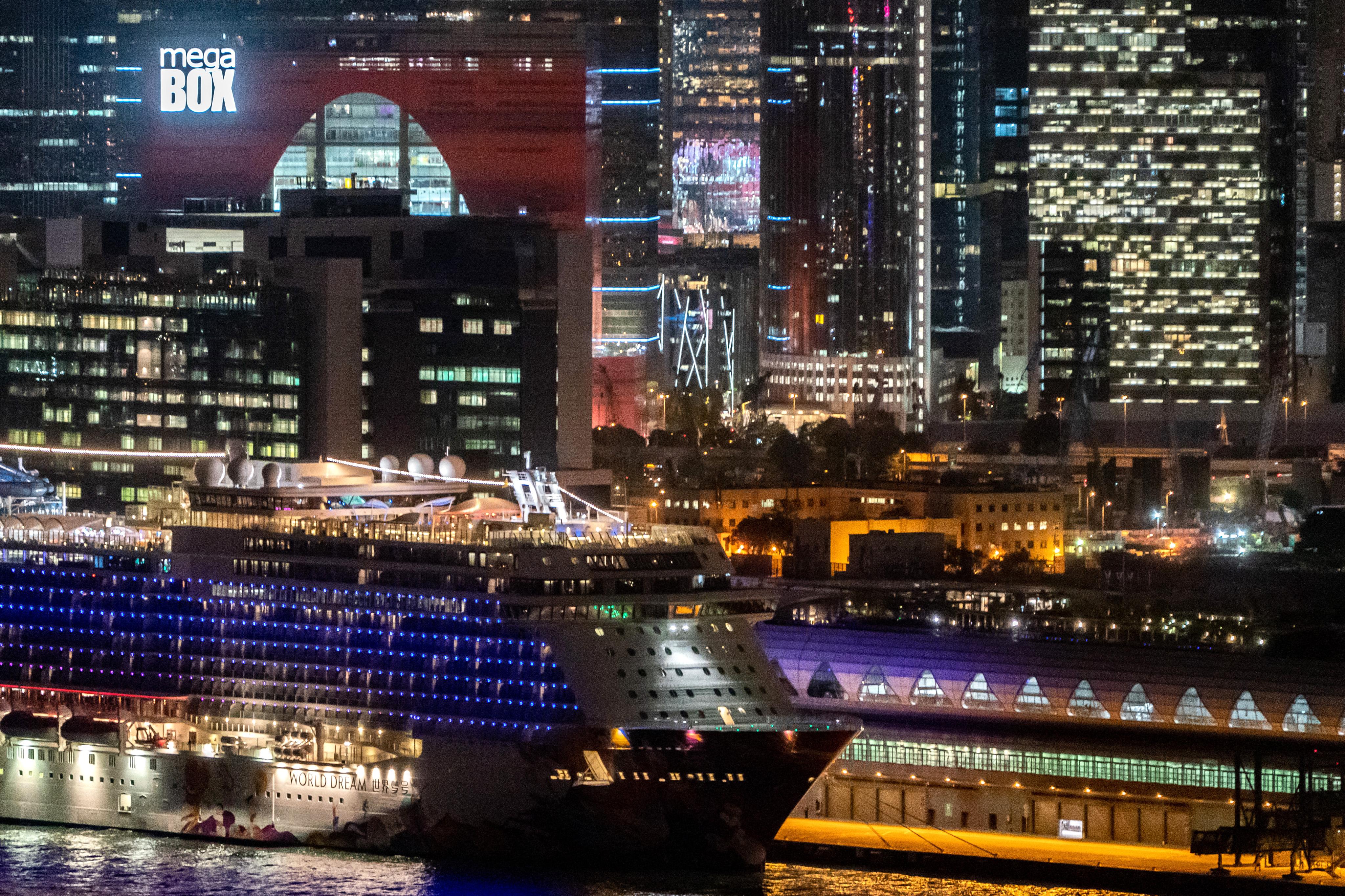 The World Dream cruise ship sits moored at Kai Tak Cruise Terminal on February 5, 2020 in Hong Kong, China.
