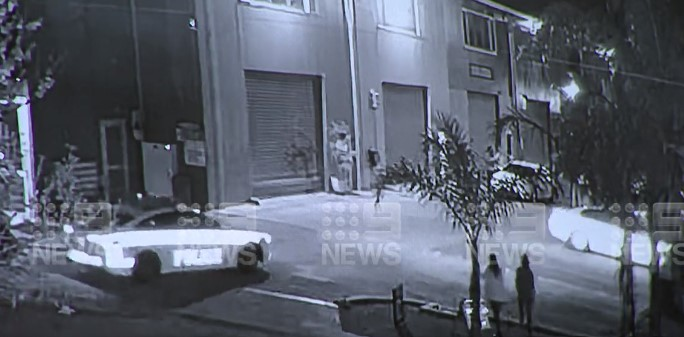 A screenshot of a police patrol car arriving at the scene of the alleged assault in Adelaide.