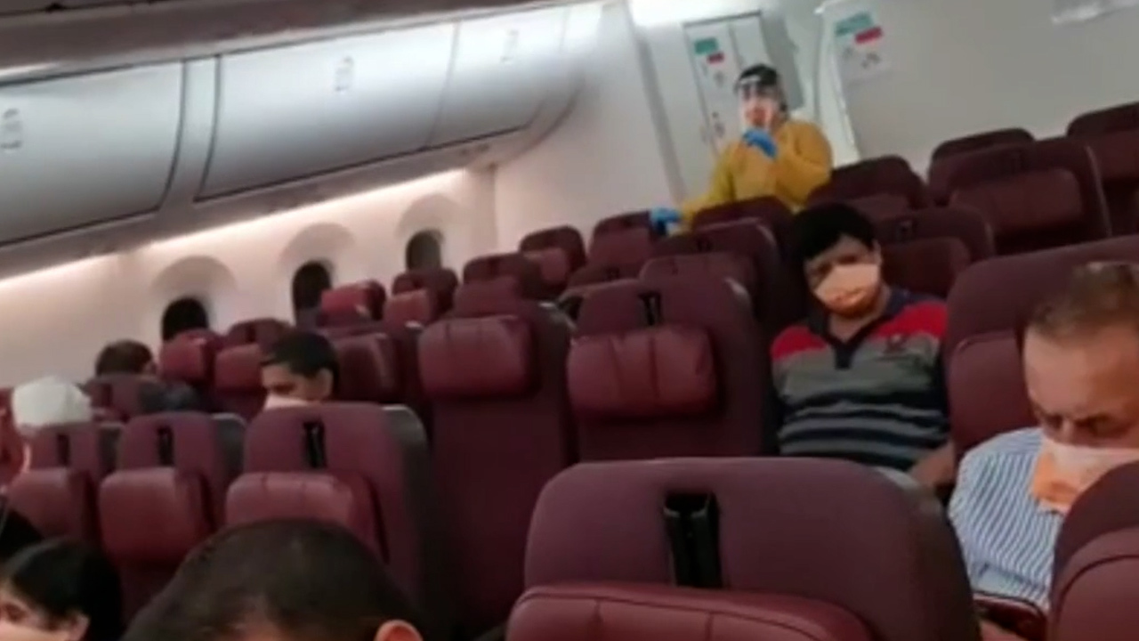 There were 80 Australians on board the flight and a lot of empty seats.